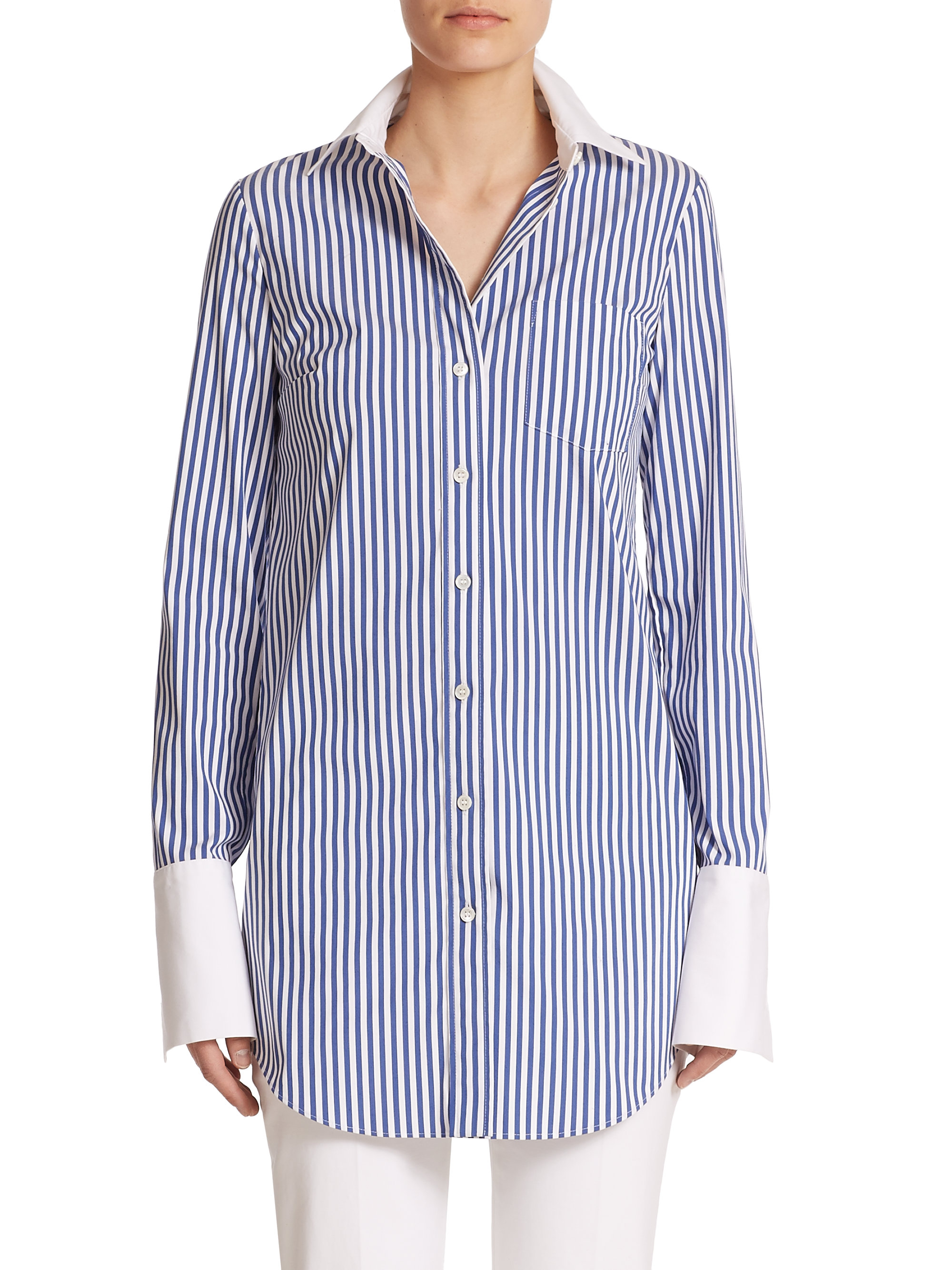Lyst Michael Kors Striped Button Down Shirt In Blue