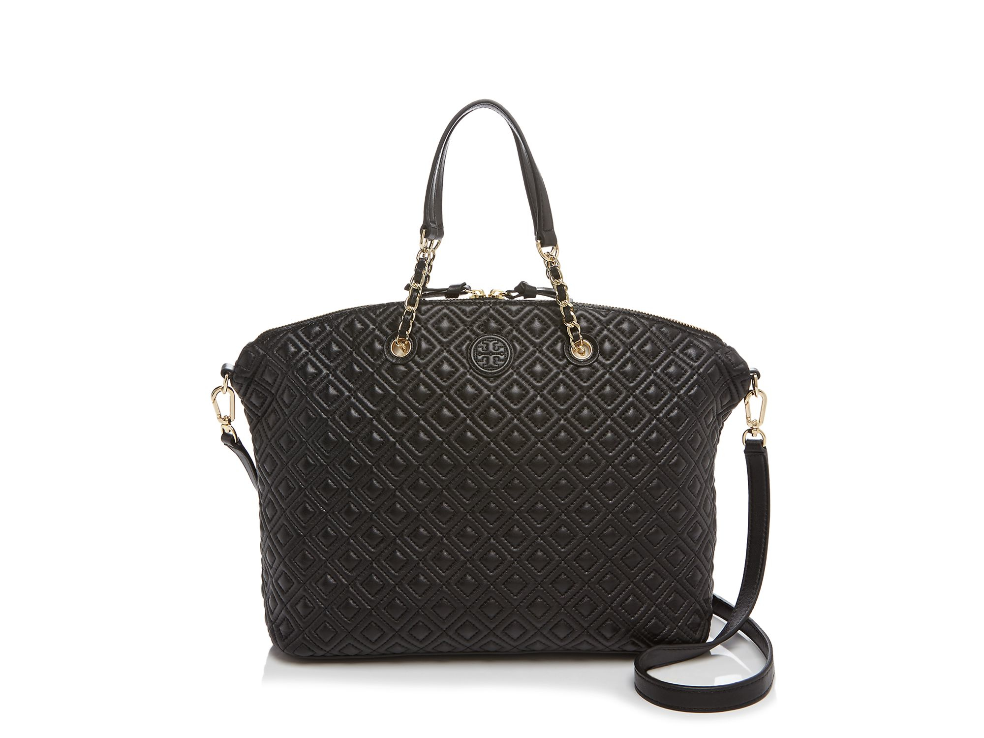 Tory burch Marion Quilted Slouchy Satchel in Black