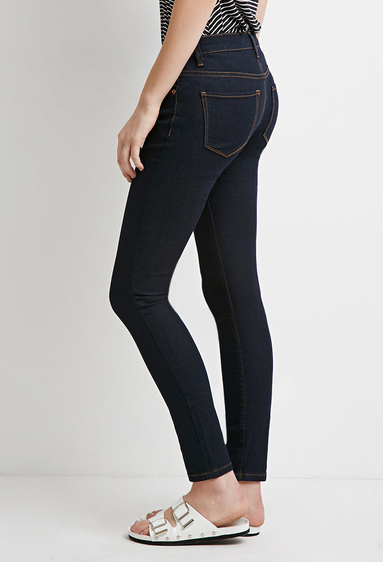 lyst forever 21 low rise ankle skinny jeans in blue. Black Bedroom Furniture Sets. Home Design Ideas