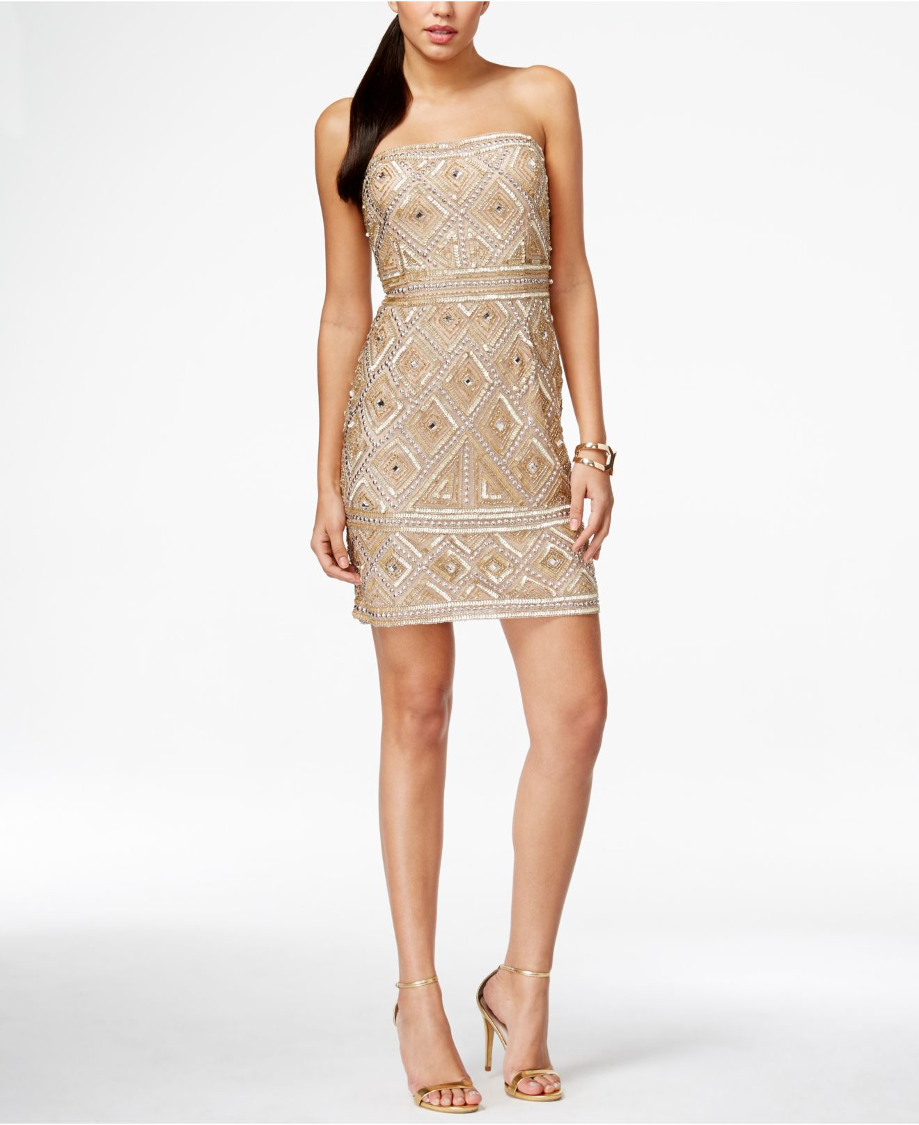 papell strapless beaded sheath dress in gold