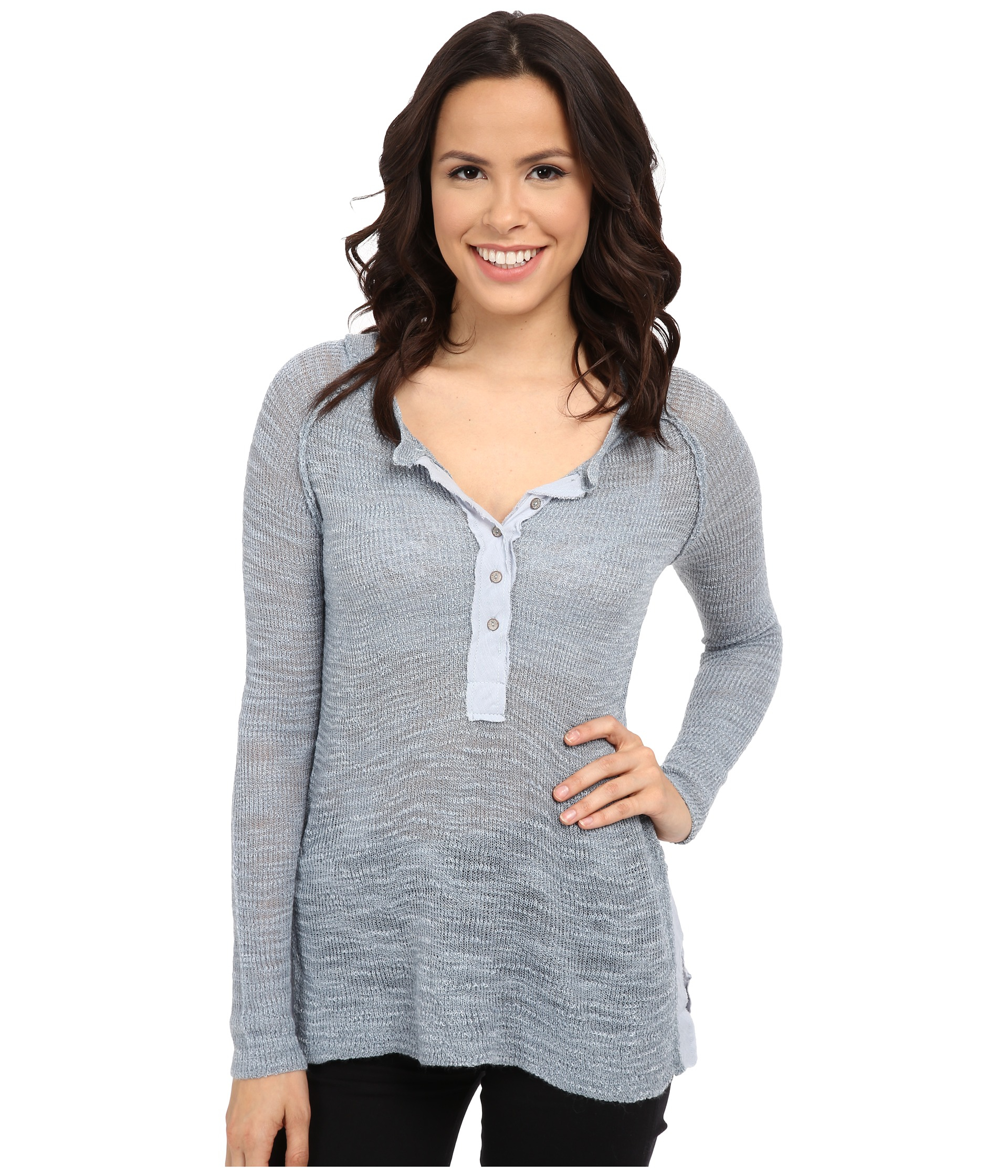 Free People Mountain Song Henley In Gray Save 21 Lyst