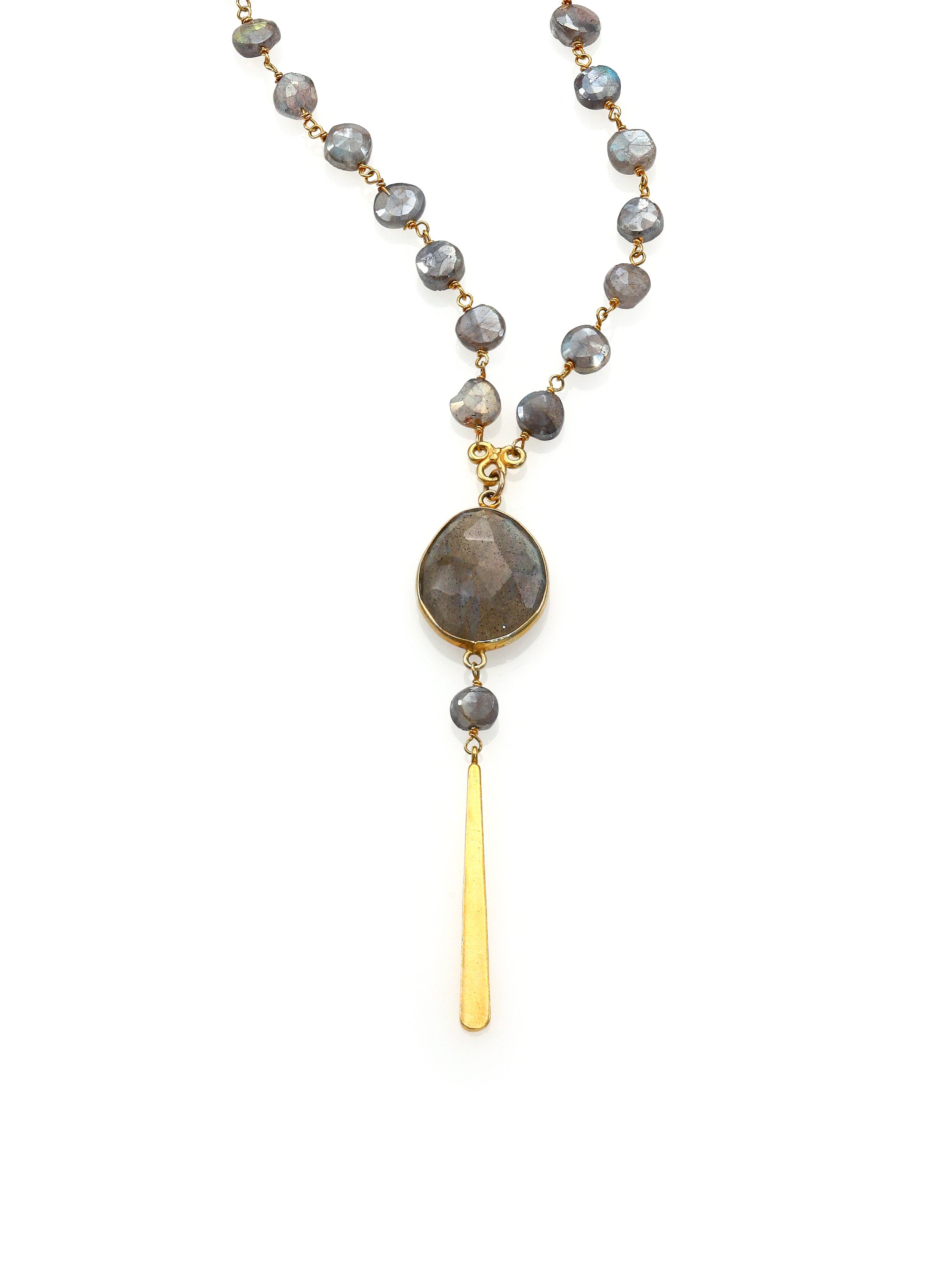 chan luu labradorite beaded y necklace in metallic lyst
