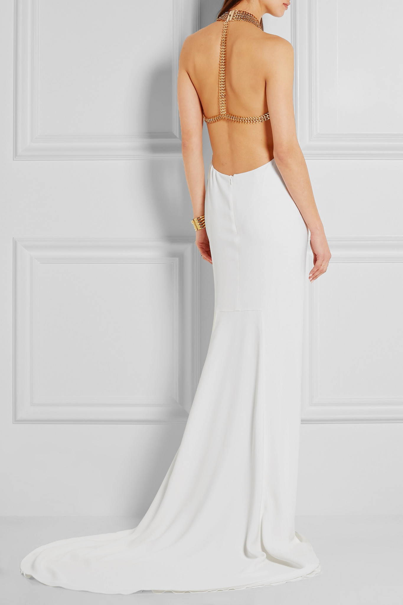 c7d66d953361 Stella McCartney - Chain-embellished Stretch-crepe Halterneck Gown ...