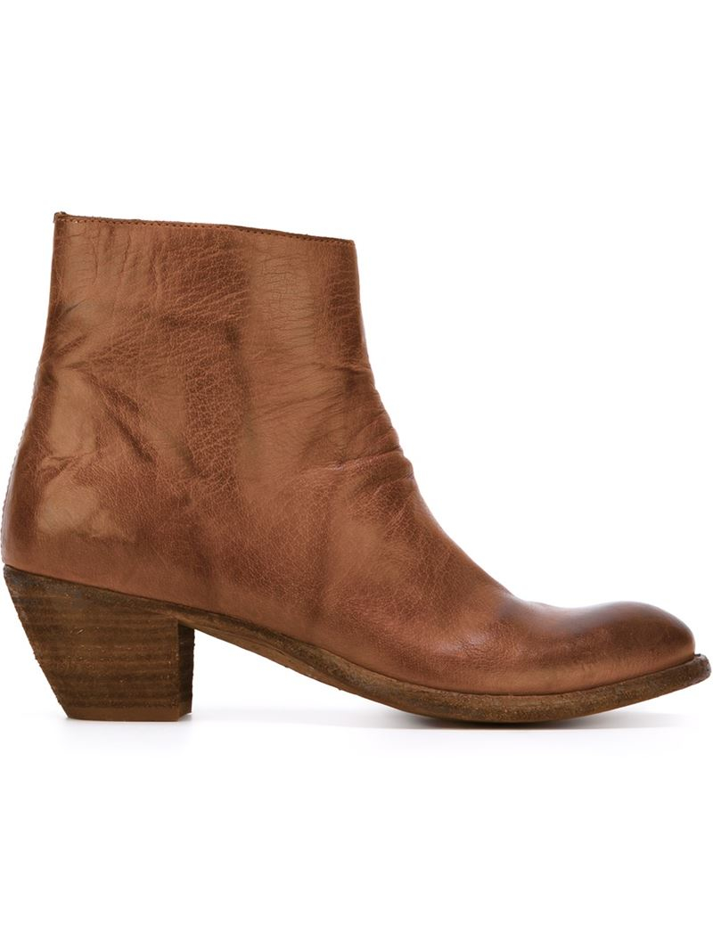officine creative godard ankle boots in brown lyst
