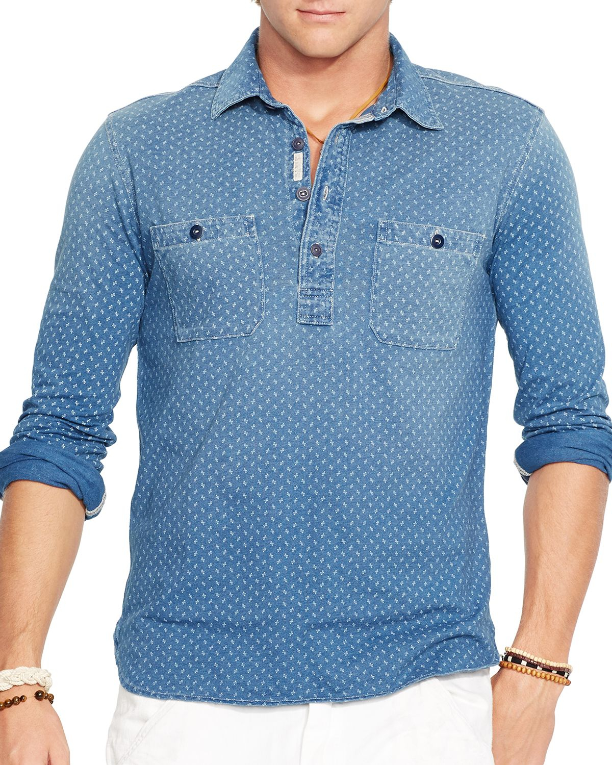 Lyst Ralph Lauren Polo Printed Indigo Workshirt In Blue