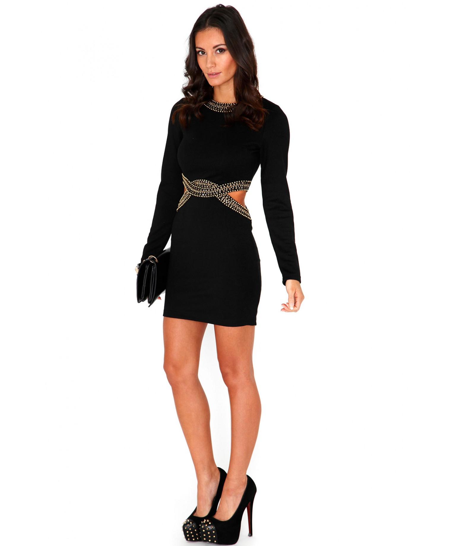 2019 year style- Sleeve Long cut out dress