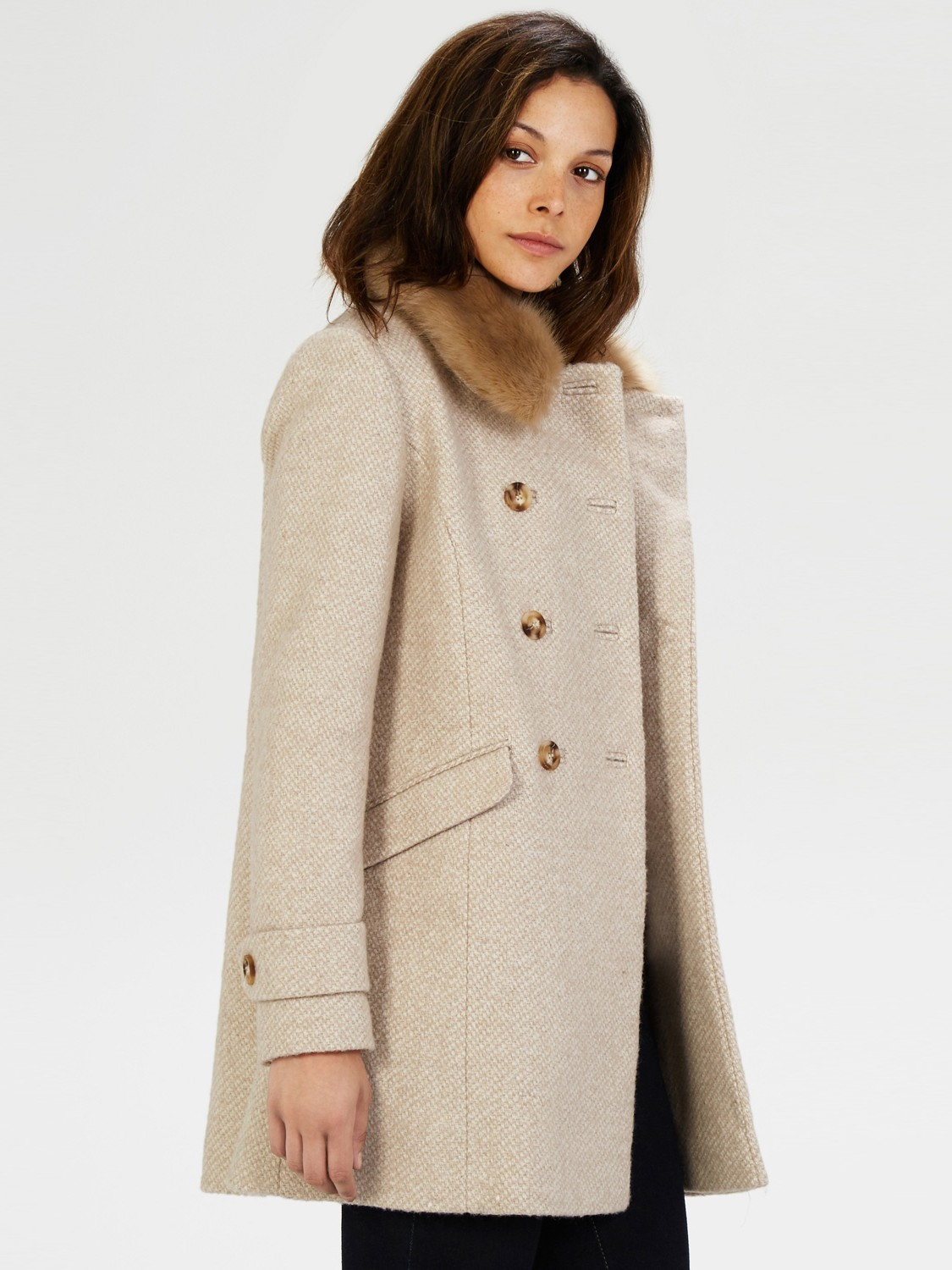 Warehouse Double Breasted Faux Fur Collar Jacket in Natural | Lyst
