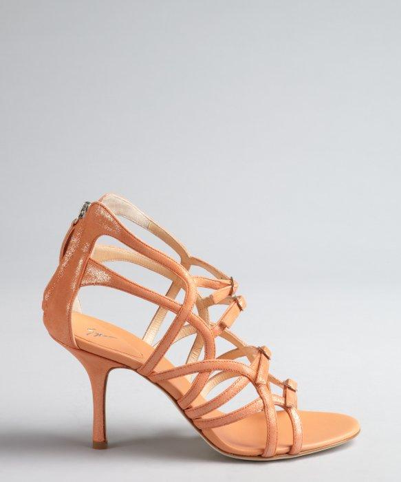 Lyst - Giuseppe zanotti Peach Shimmer Suede Cutout Buckle Vamp ...