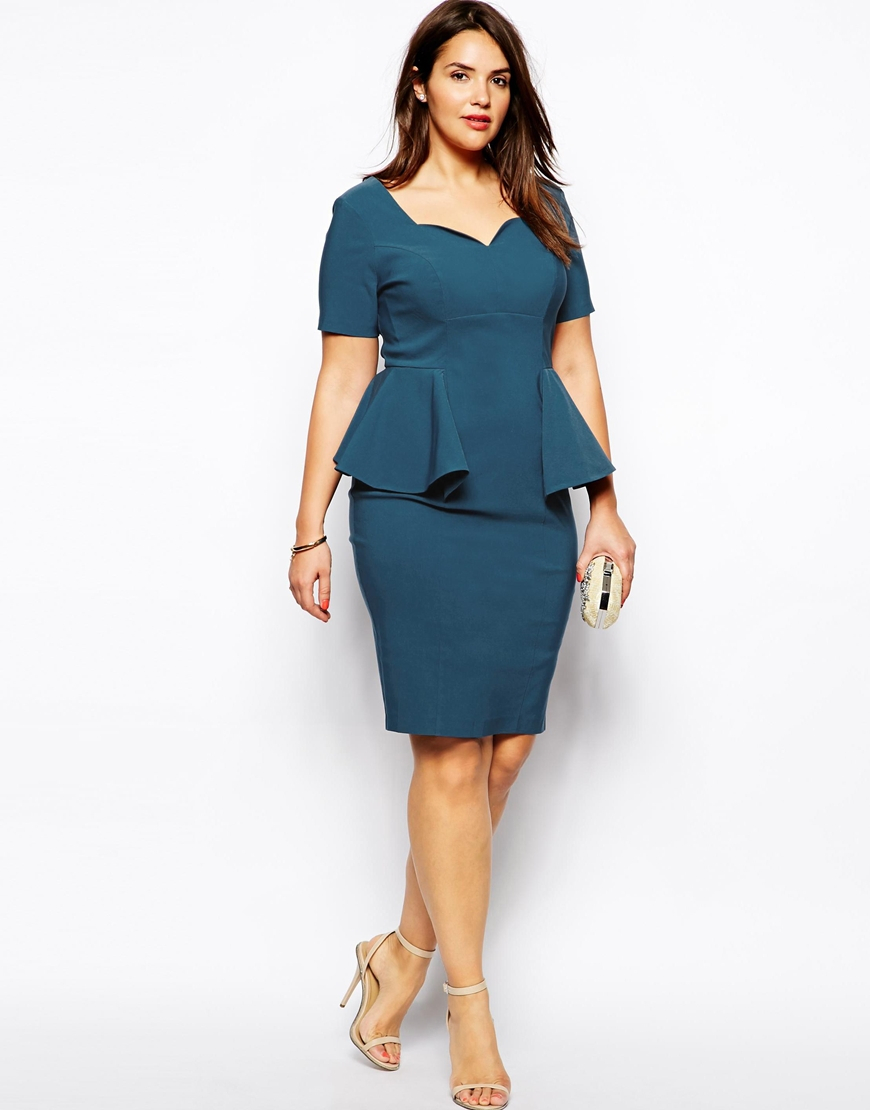 Lyst - ASOS Structured Midi Dress With Peplum in Blue b0d1f5ff5