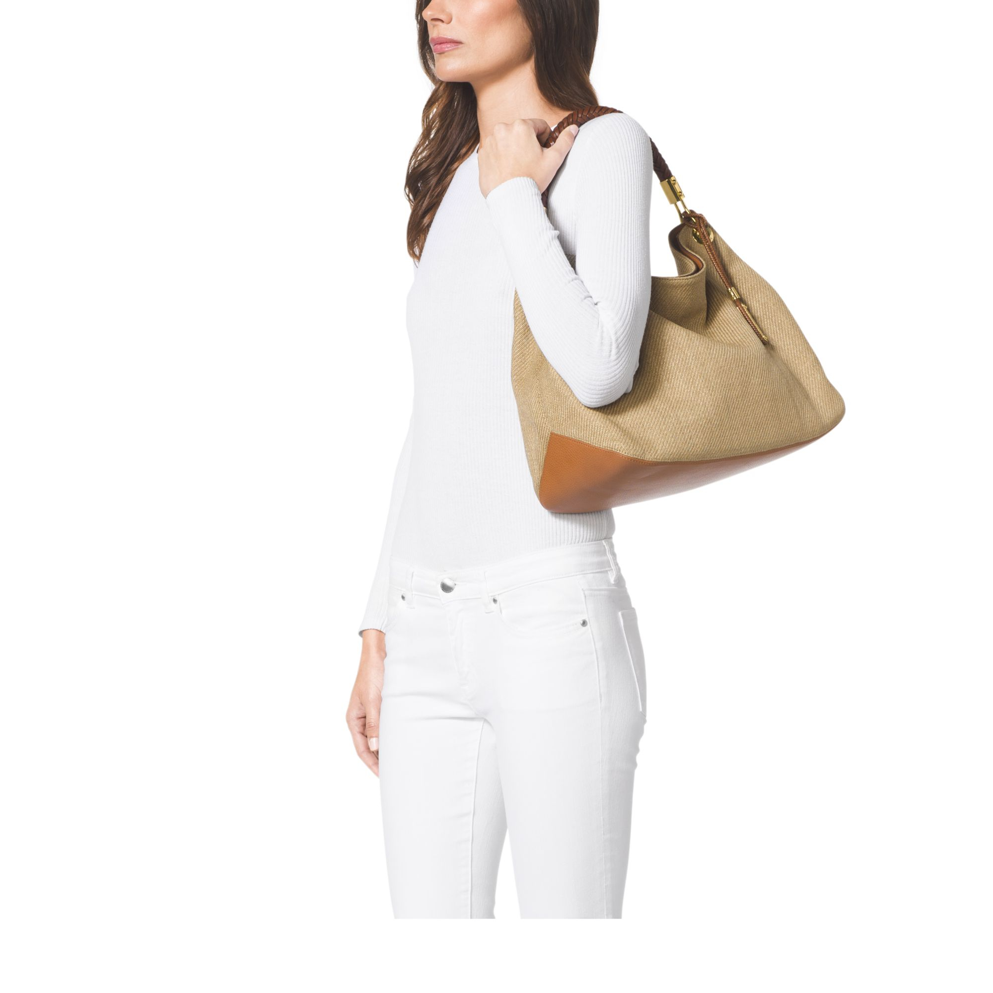 681aa2bbfff1 Lyst - Michael Kors Skorpios Large Woven Shoulder Bag in Metallic