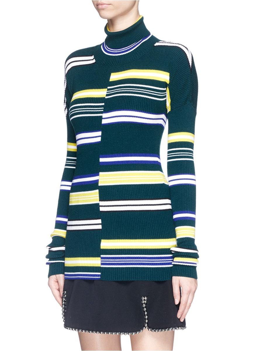 Kenzo Stripe Rib Knit Turtleneck Sweater in Green | Lyst