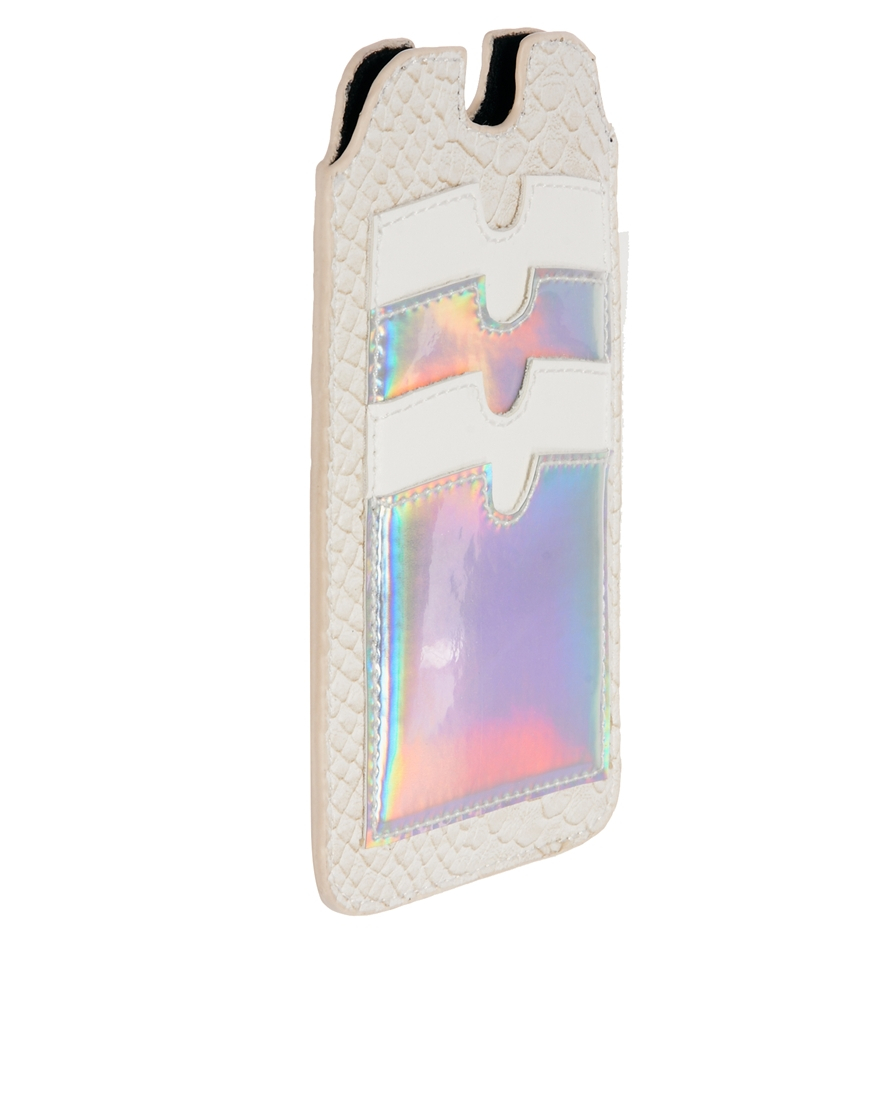 a77ca10e1a1 ASOS Iphone 5 Case with Card Holder and Hologram in Natural - Lyst