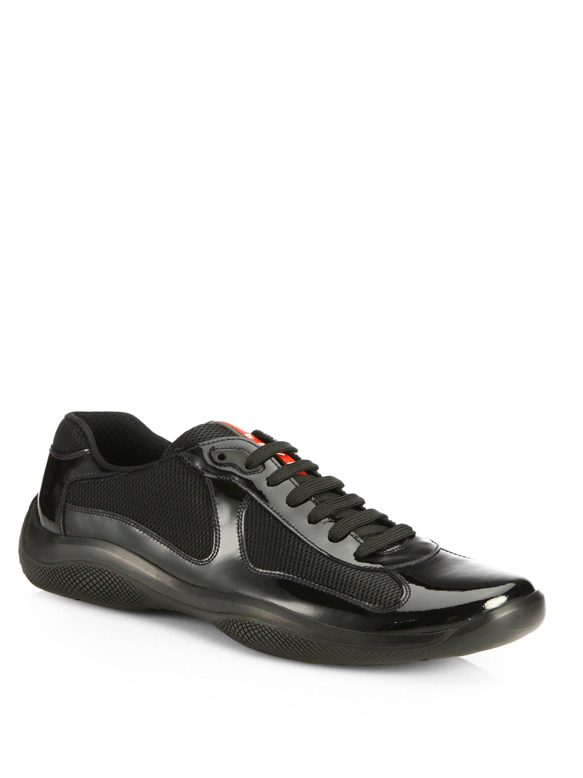 e7330dbb3155c shopping prada new americas cup leather high top sneakers 8adab 92b4d  hot lyst  prada patent americas cup sneakers in black for men d9605 4733e
