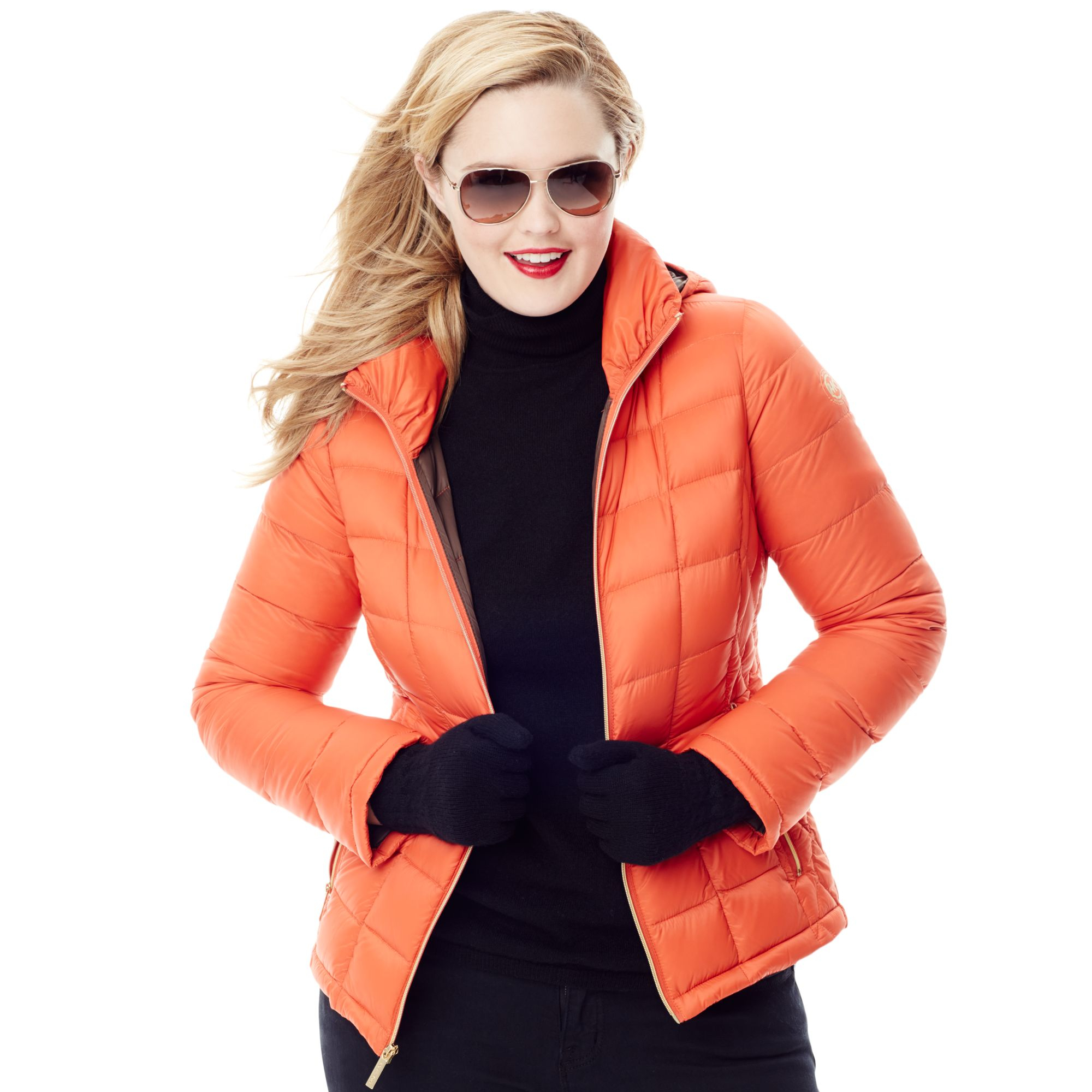 11a83d23e89a Lyst - Michael Kors Hooded Quilted Down Packable Puffer in Orange