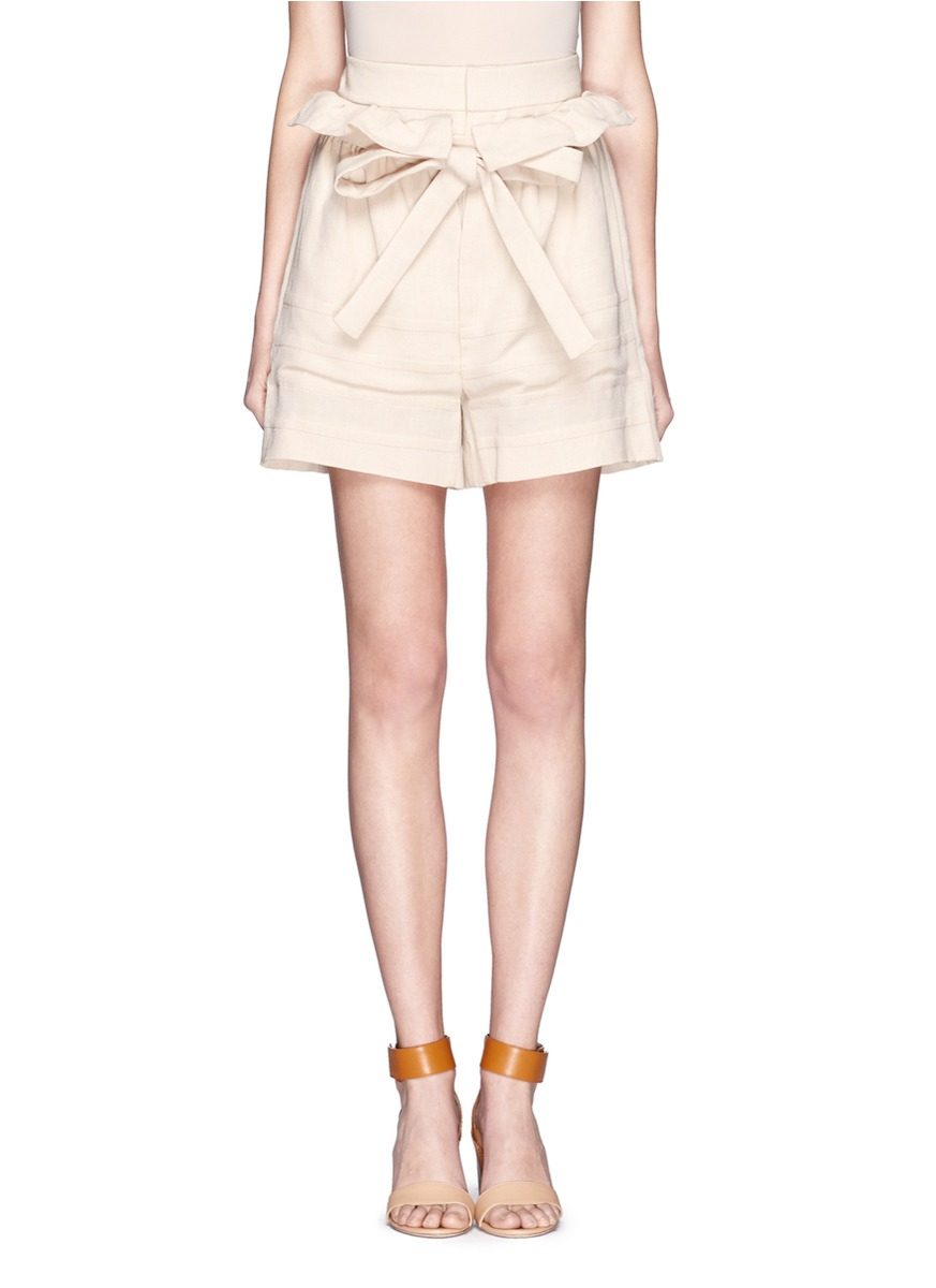 Chlo 233 Linen Blend Paper Bag Shorts In Beige Neutral And
