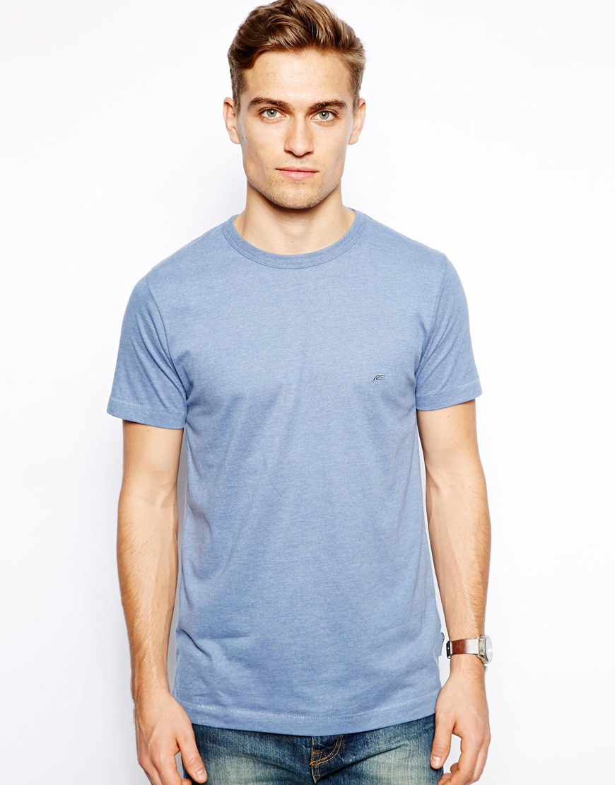 Lyst french connection t shirt basic logo in blue for men for French blue t shirt