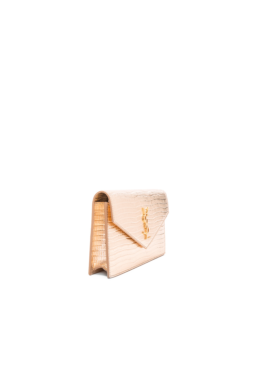 d129ae849fcb Lyst - Saint Laurent Monogramme Mock Lizard Envelope Chain Wallet in  Metallic