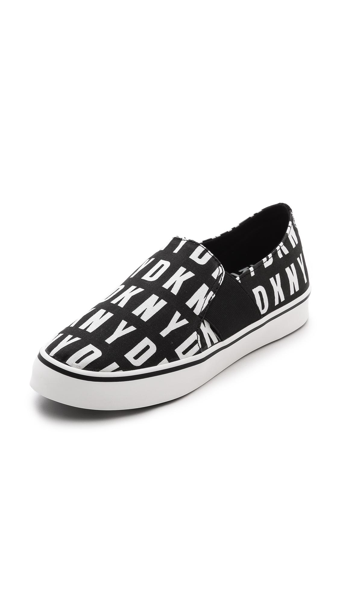 lyst dkny barrow slip on sneakers in black