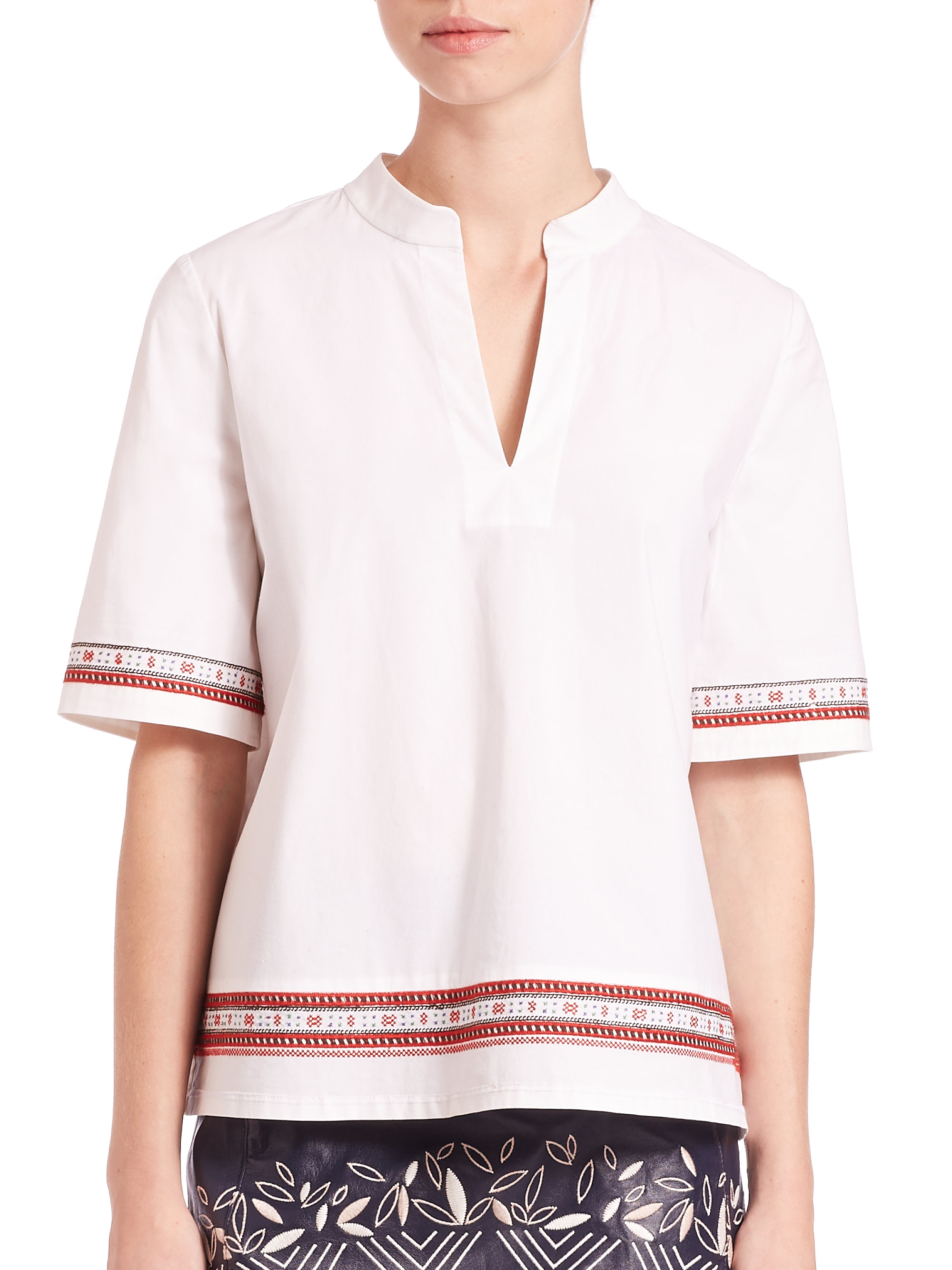 8abcbbef62e Lyst - Tory Burch Embroidered Cotton Tunic in White
