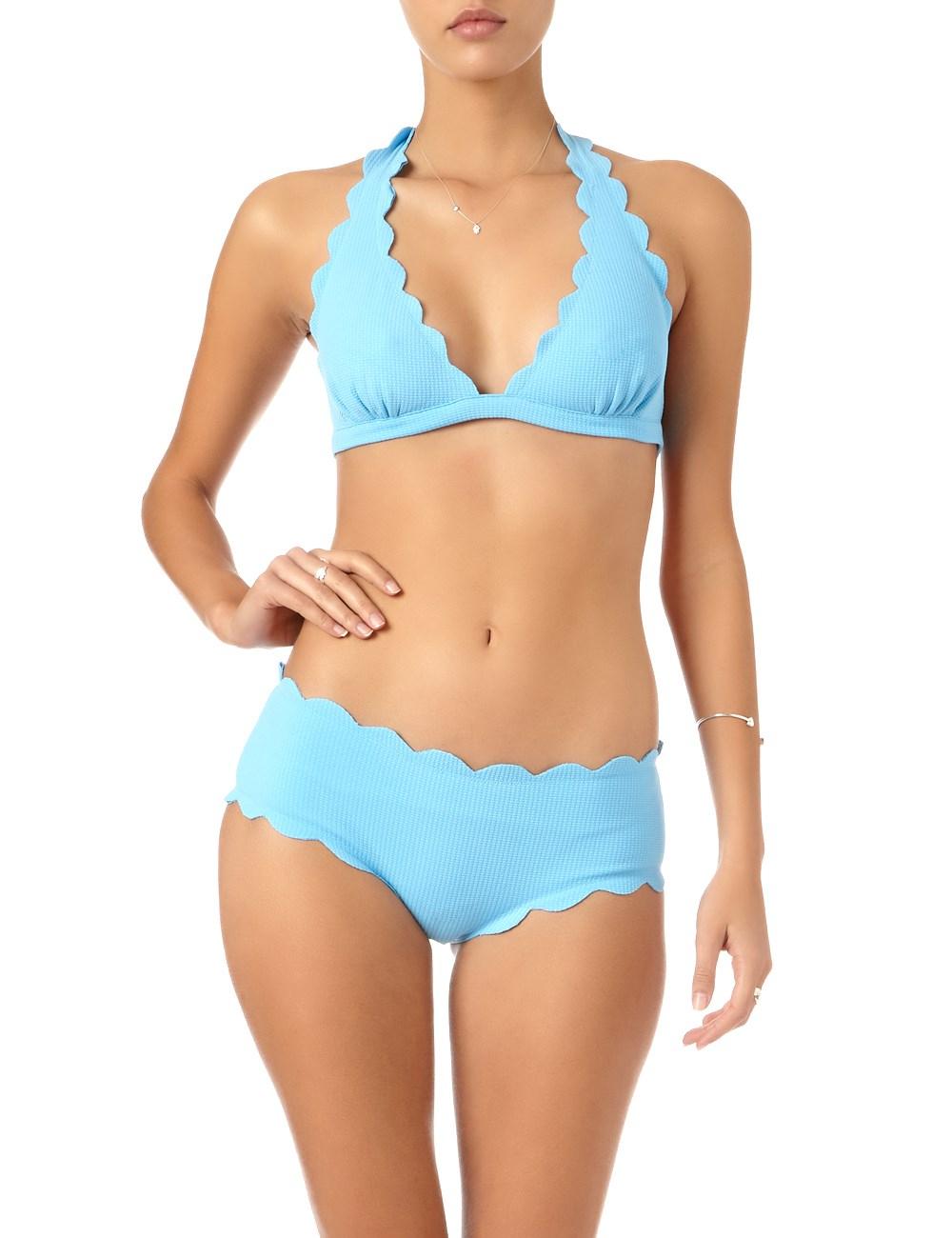 Marysia swim Aqua Scalloped Spring Bikini Top in Blue