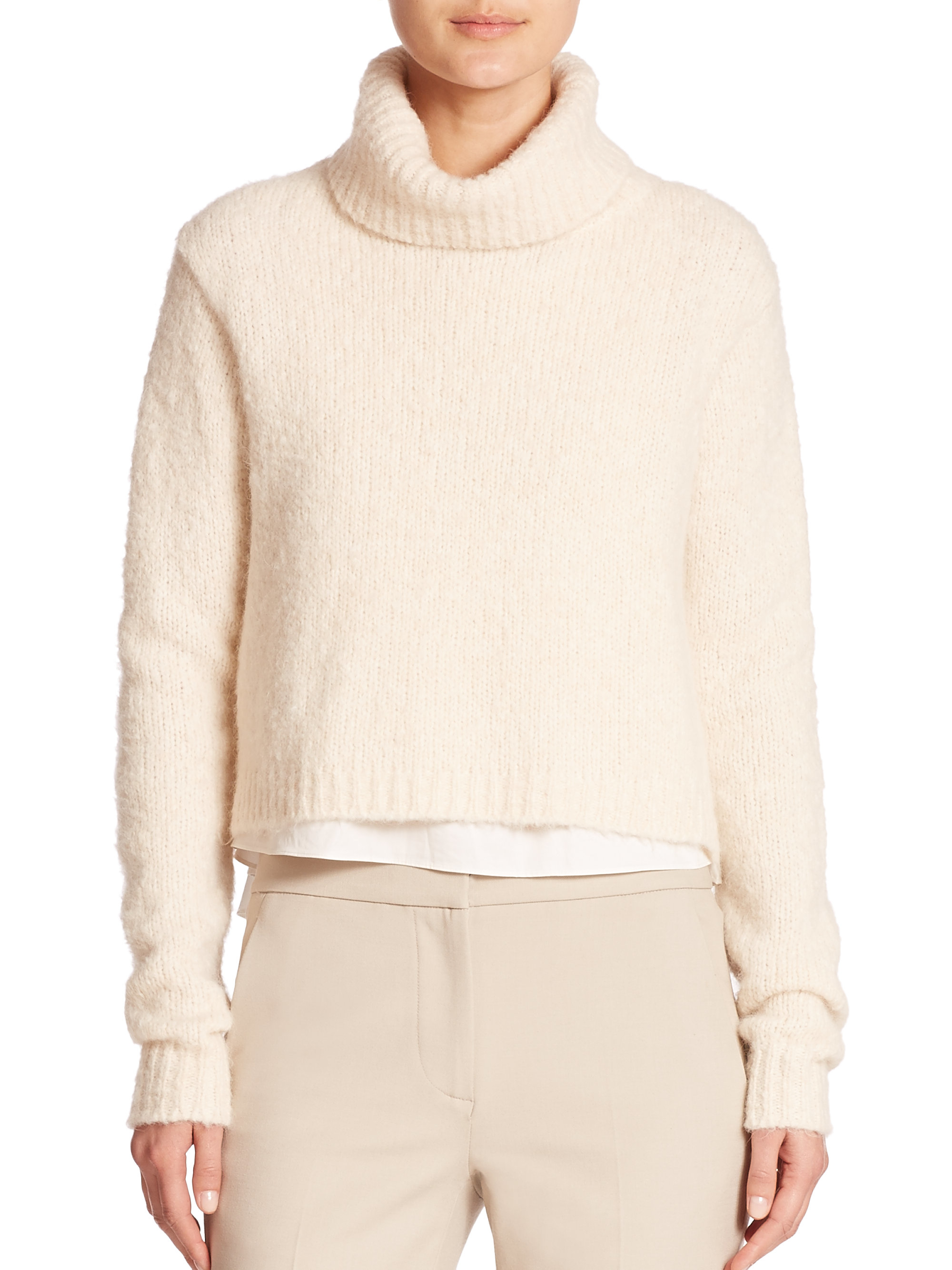 Tibi Merino Wool & Cotton Layered Cropped Sweater in White | Lyst
