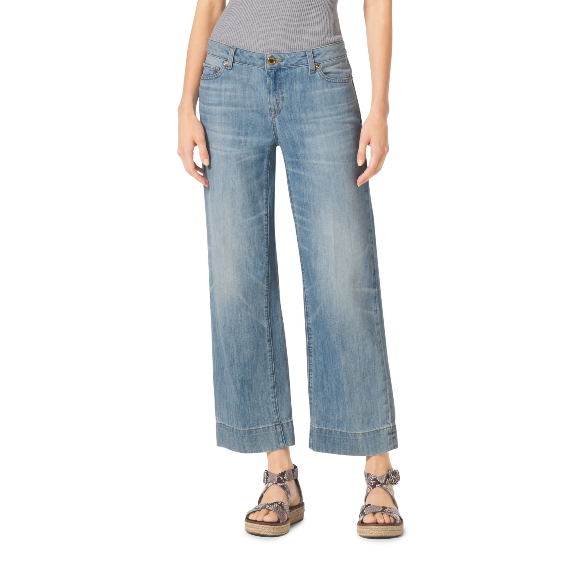 Michael kors Cropped Wide-leg Jeans in Blue | Lyst