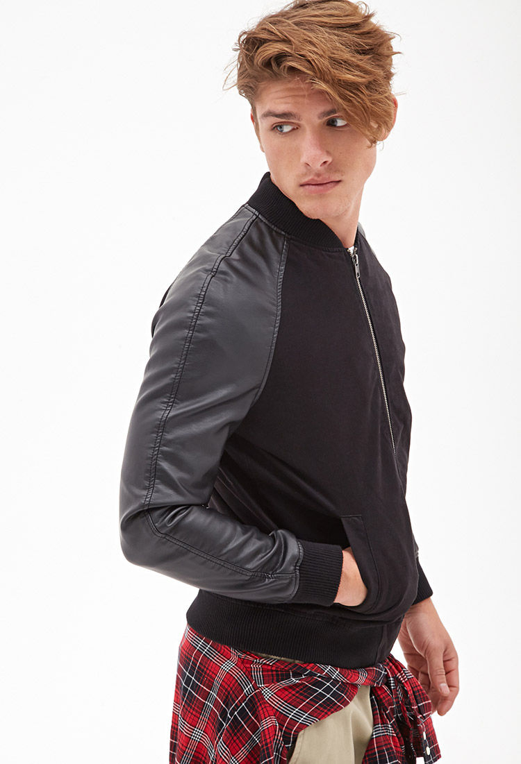 Forever 21 Faux Leather-sleeve Bomber Jacket in Black for Men | Lyst