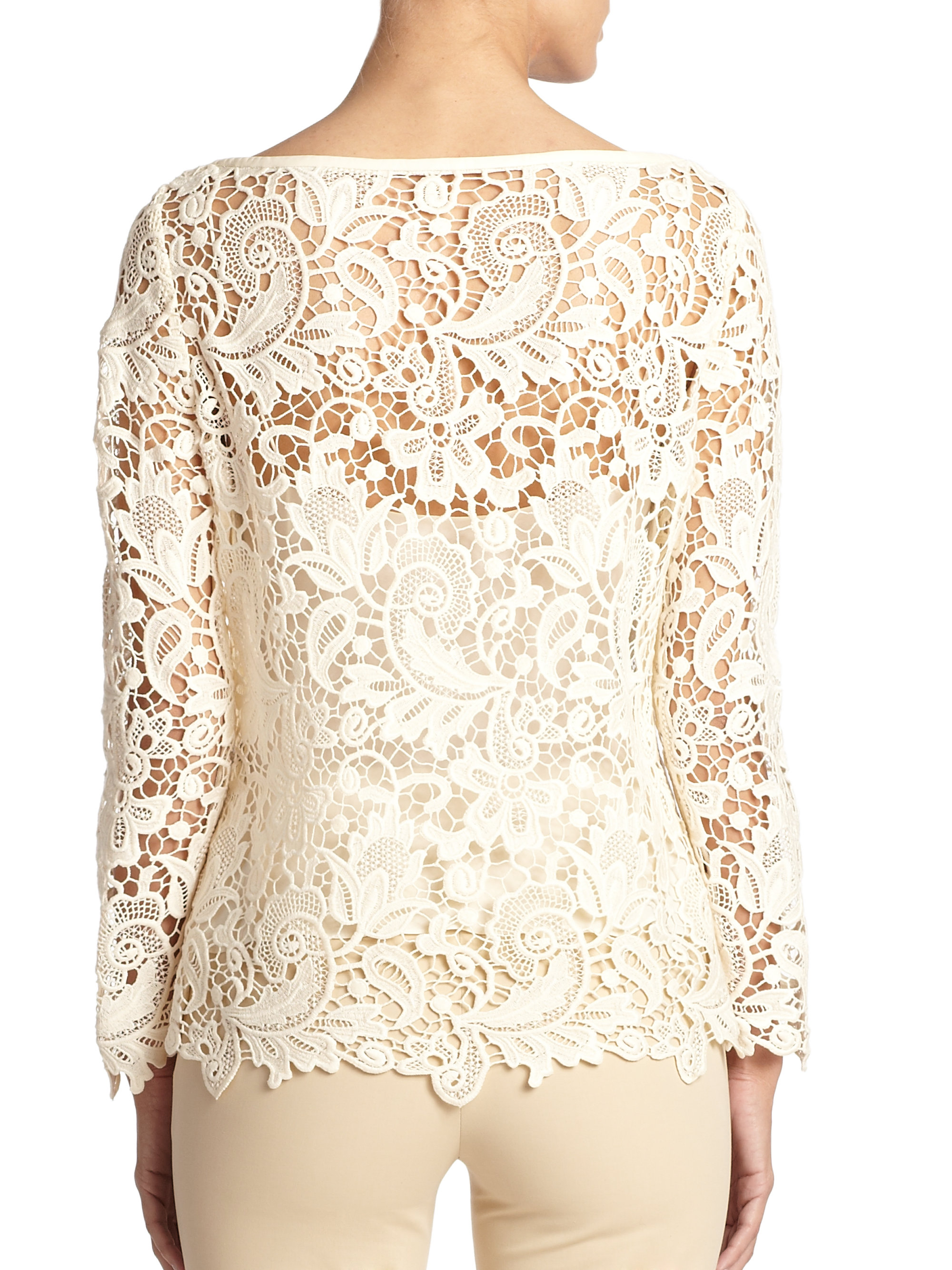 e3a027764e Ralph Lauren Embroidered Lace Top in White - Lyst
