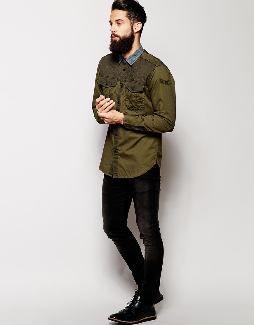 Lyst Diesel Military Style Shirt With Contrast Denim Collar In Green For Men