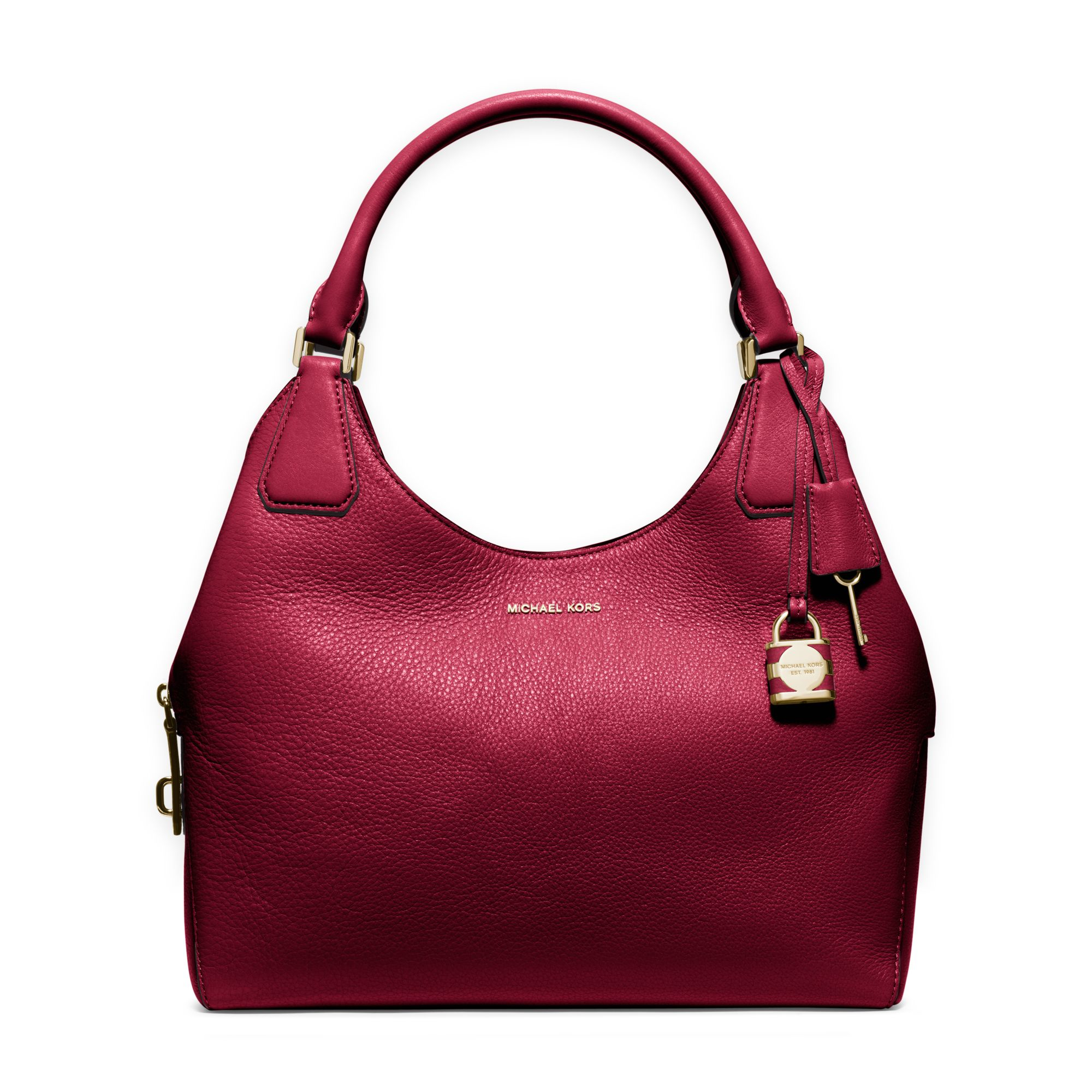 ed8cd850ed Lyst - Michael Kors Camille Large Leather Shoulder Bag in Red