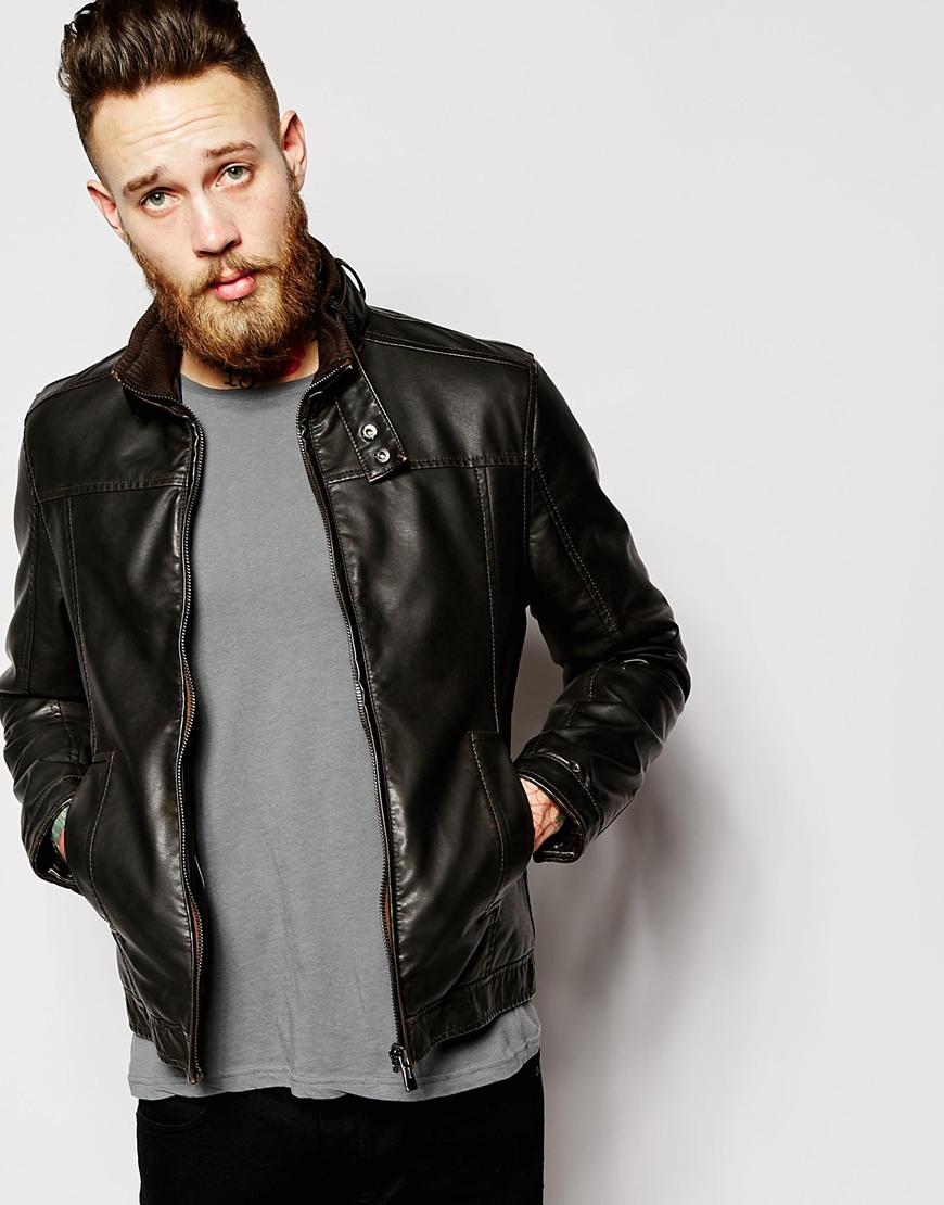 Lyst Barneys Originals Barneys Faux Leather Biker Jacket In Brown