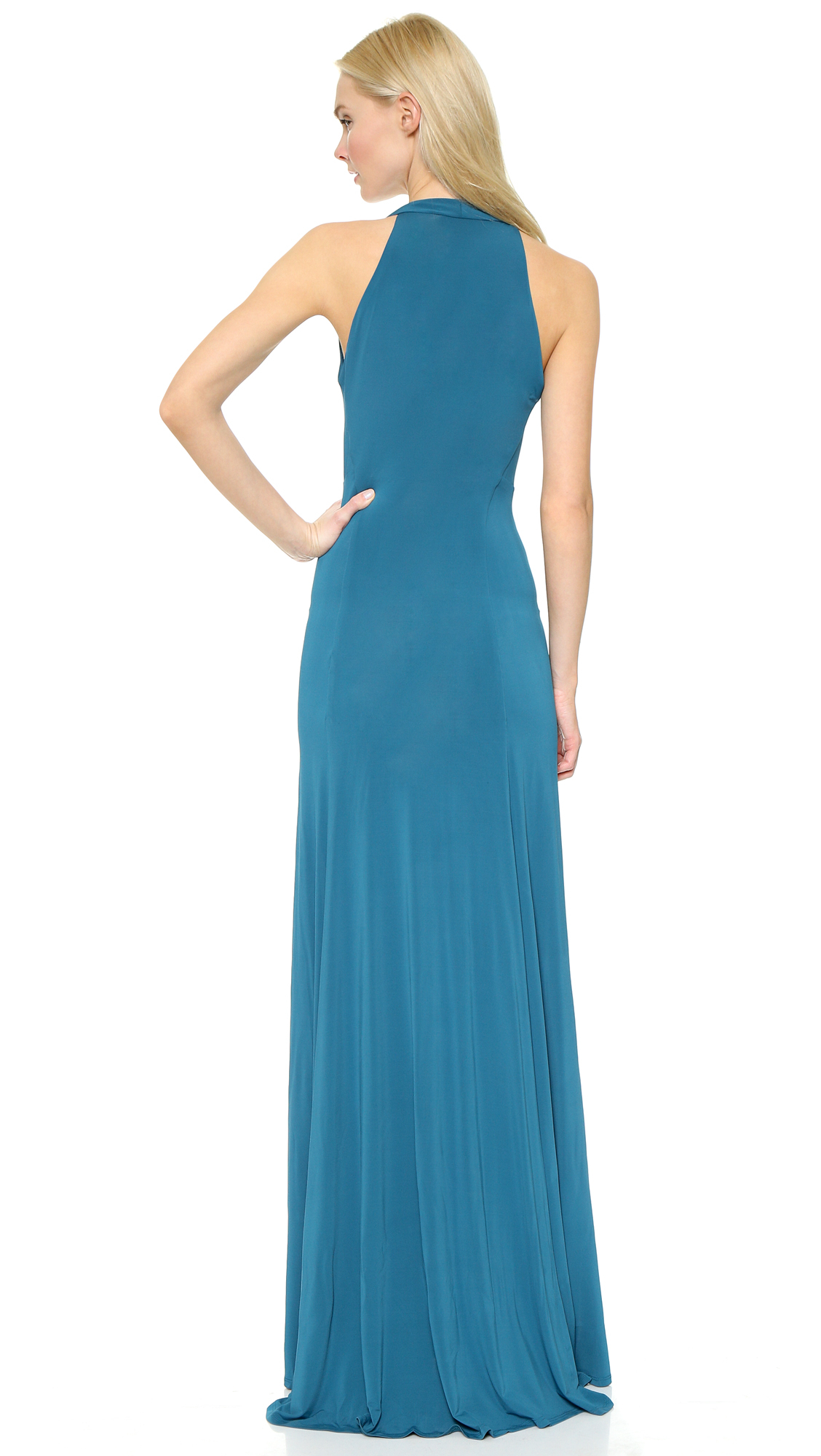 Donna Karan Sleeveless Draped Gown - Cerulean in Blue - Lyst