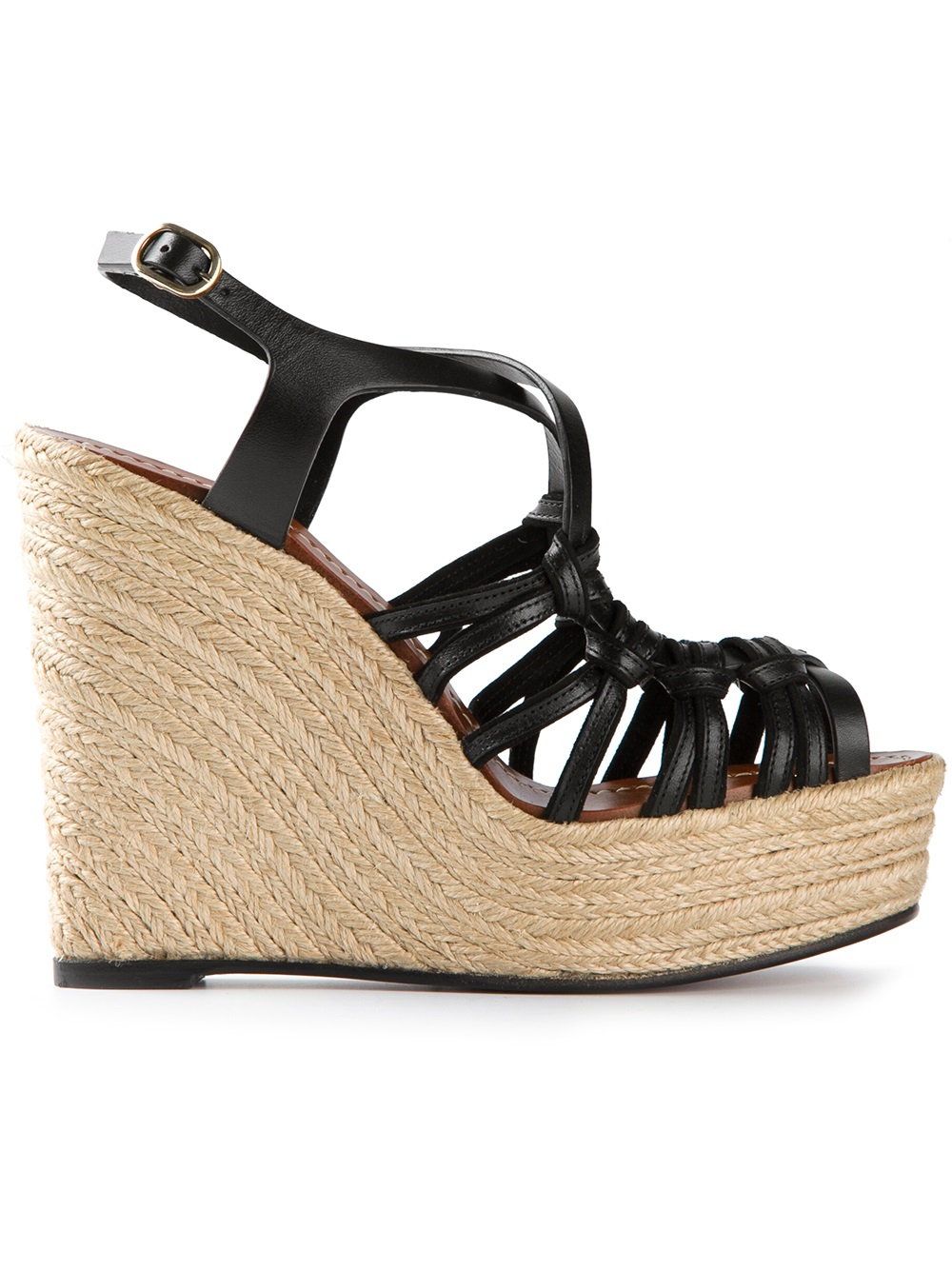 Lyst Valentino Strappy Wedge Sandal In Black