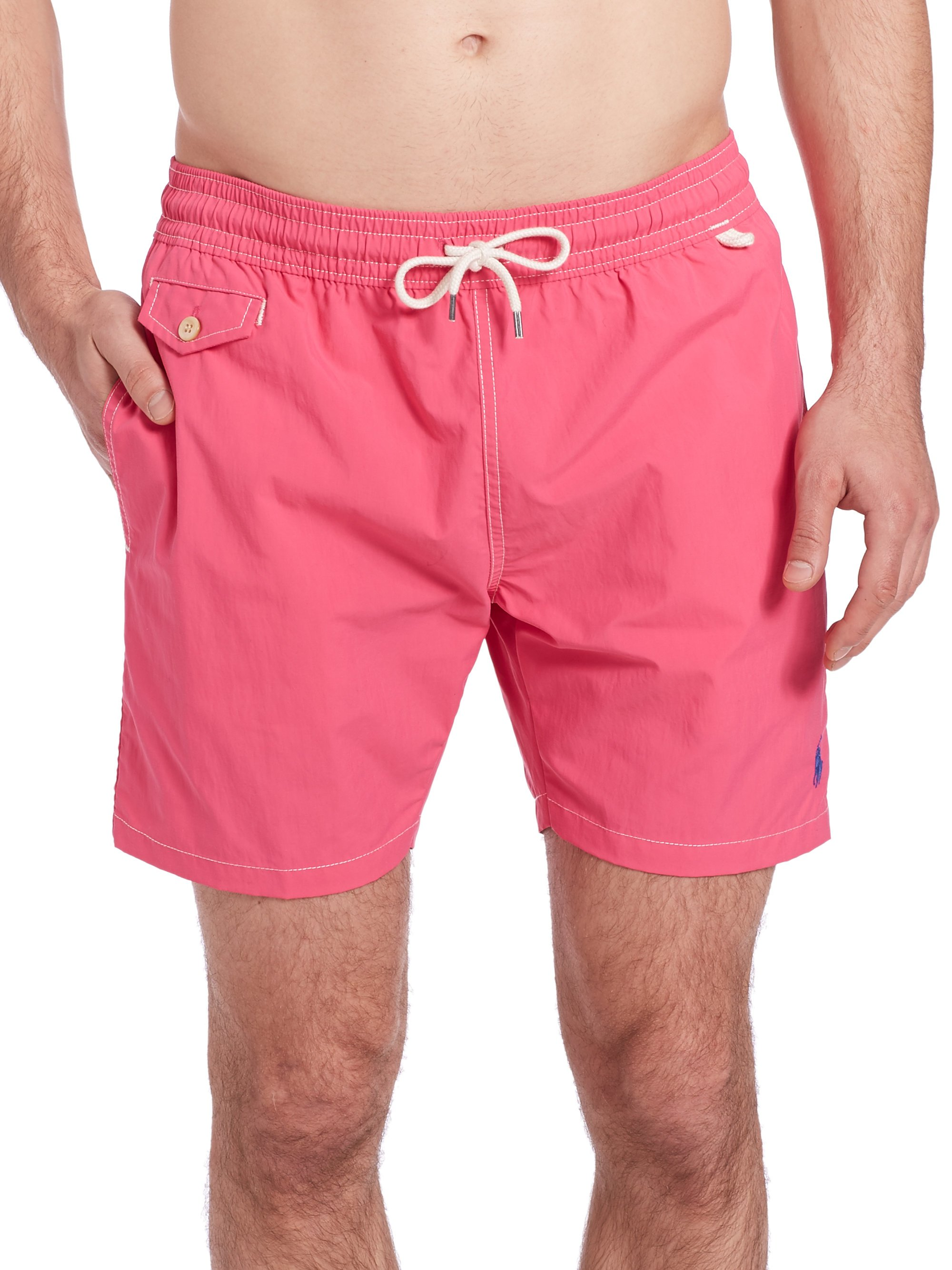 fab64177a022a Polo Ralph Lauren Traveler Swim Shorts in Pink for Men - Lyst