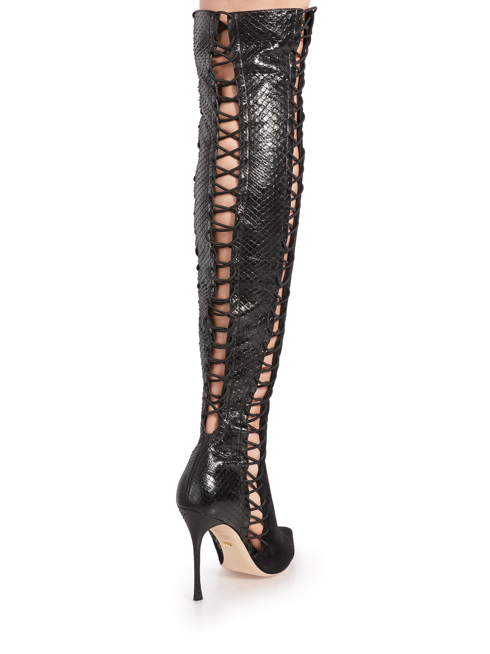 Sergio Rossi Snakeskin & Suede Over-The-Knee Boots extremely for sale EaZ2Cspk