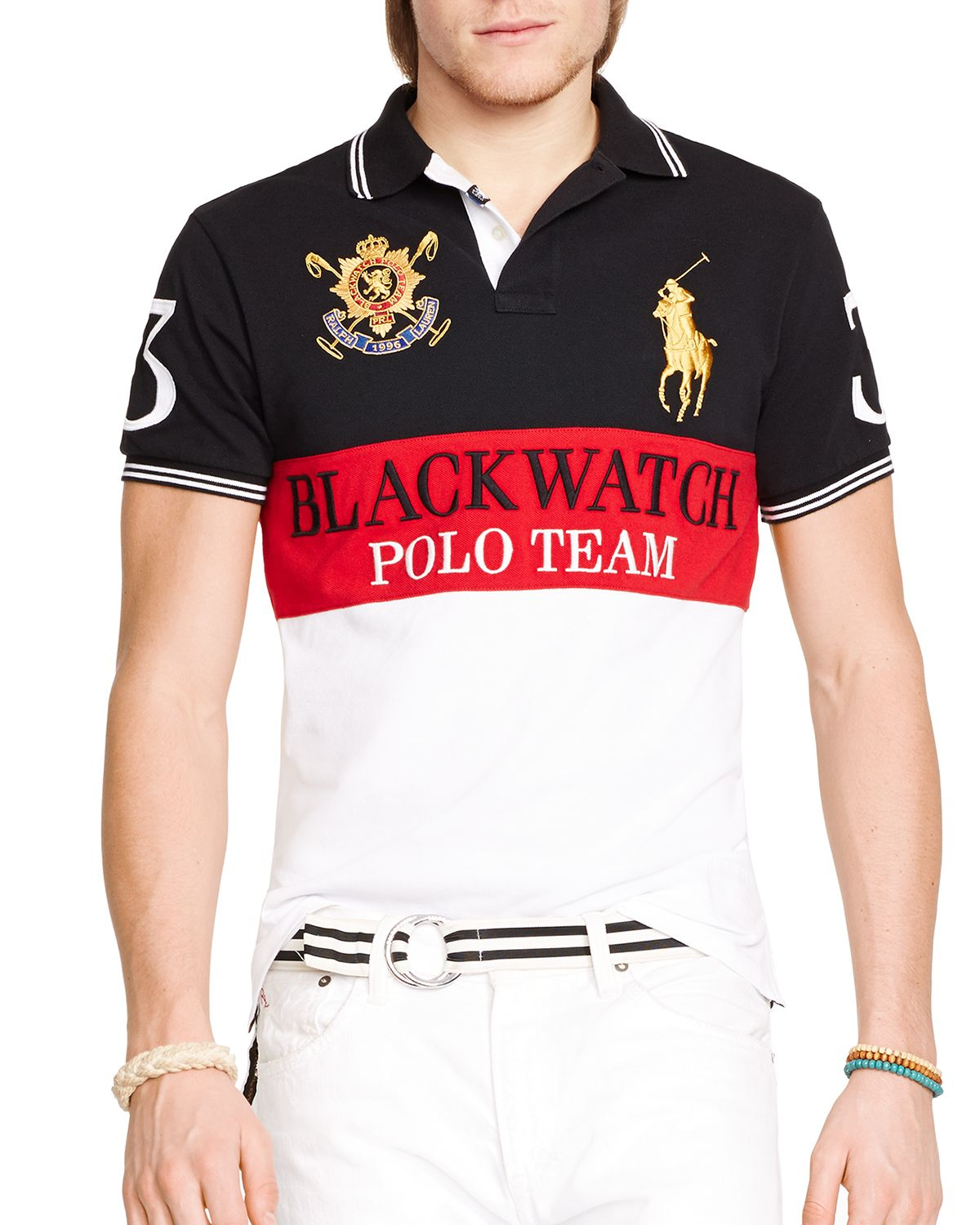 68448226 Ralph Lauren Polo Black Watch Custom-fit Color-blocked Polo Shirt ...