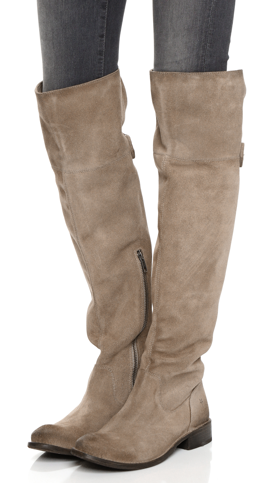 Lyst Frye Shirley Suede Over The Knee Boots In Brown