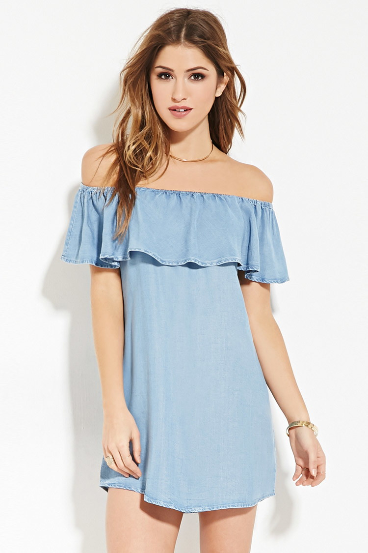 Forever 21 Chambray Off The Shoulder Dress In Blue Lyst