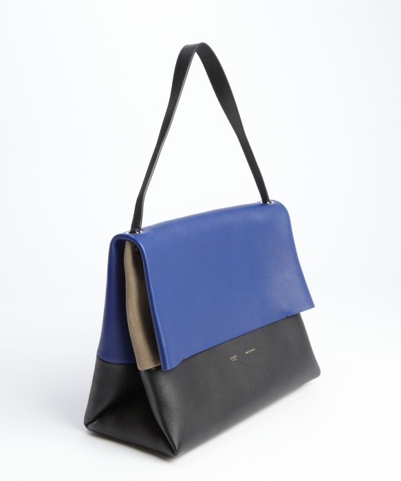 Céline Cobalt and Black Leather All Soft Shoulder Bag in Blue | Lyst