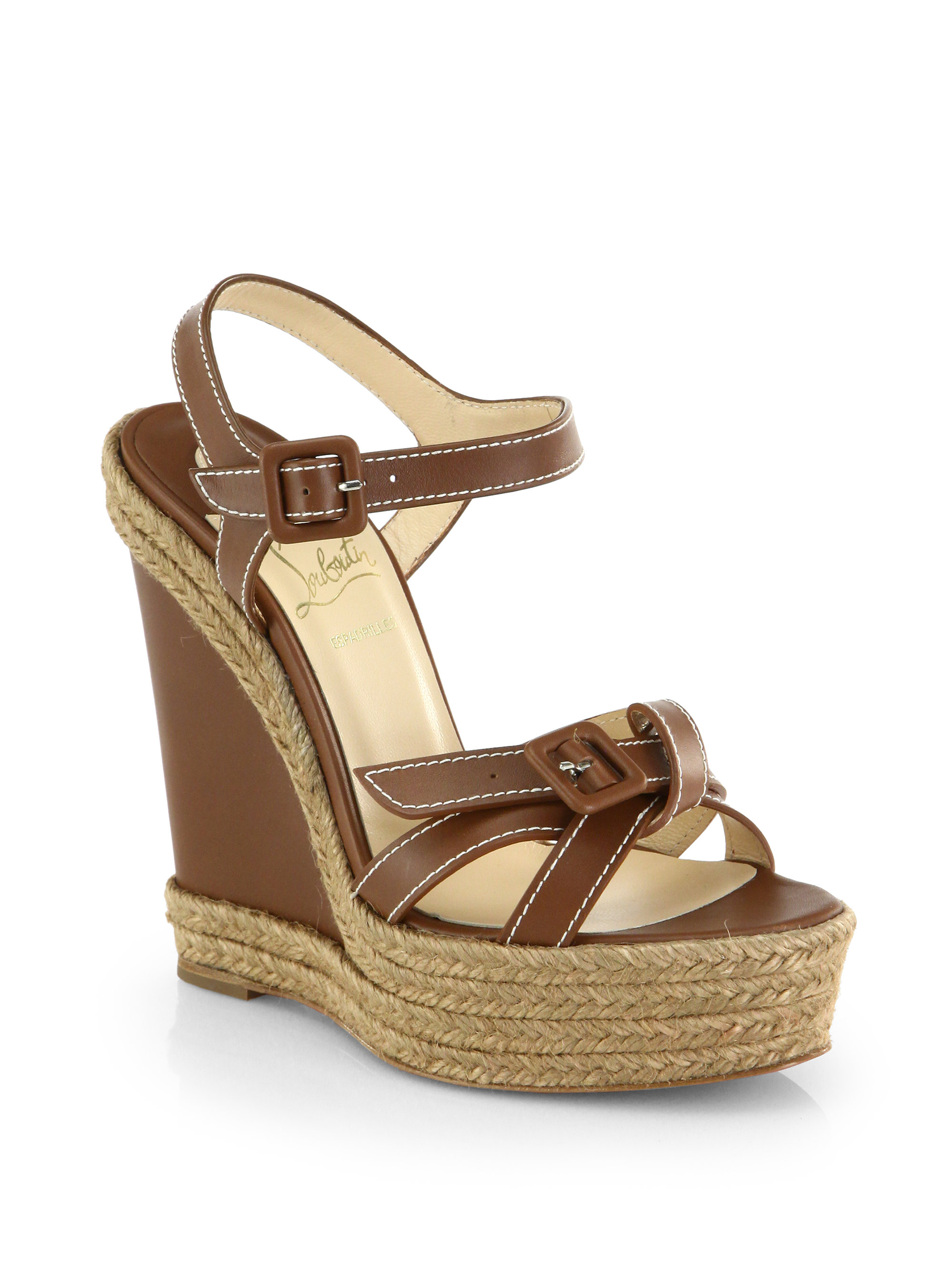ebec092e7053 Christian Louboutin Zero Problem Leather Espadrille Wedge Sandals in ...
