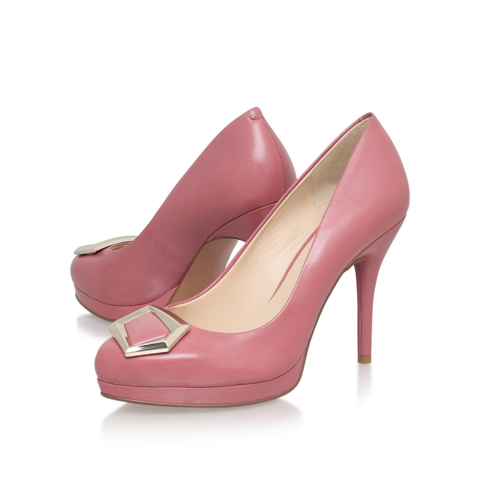 nine west keemah high heel embellished court shoes in pink