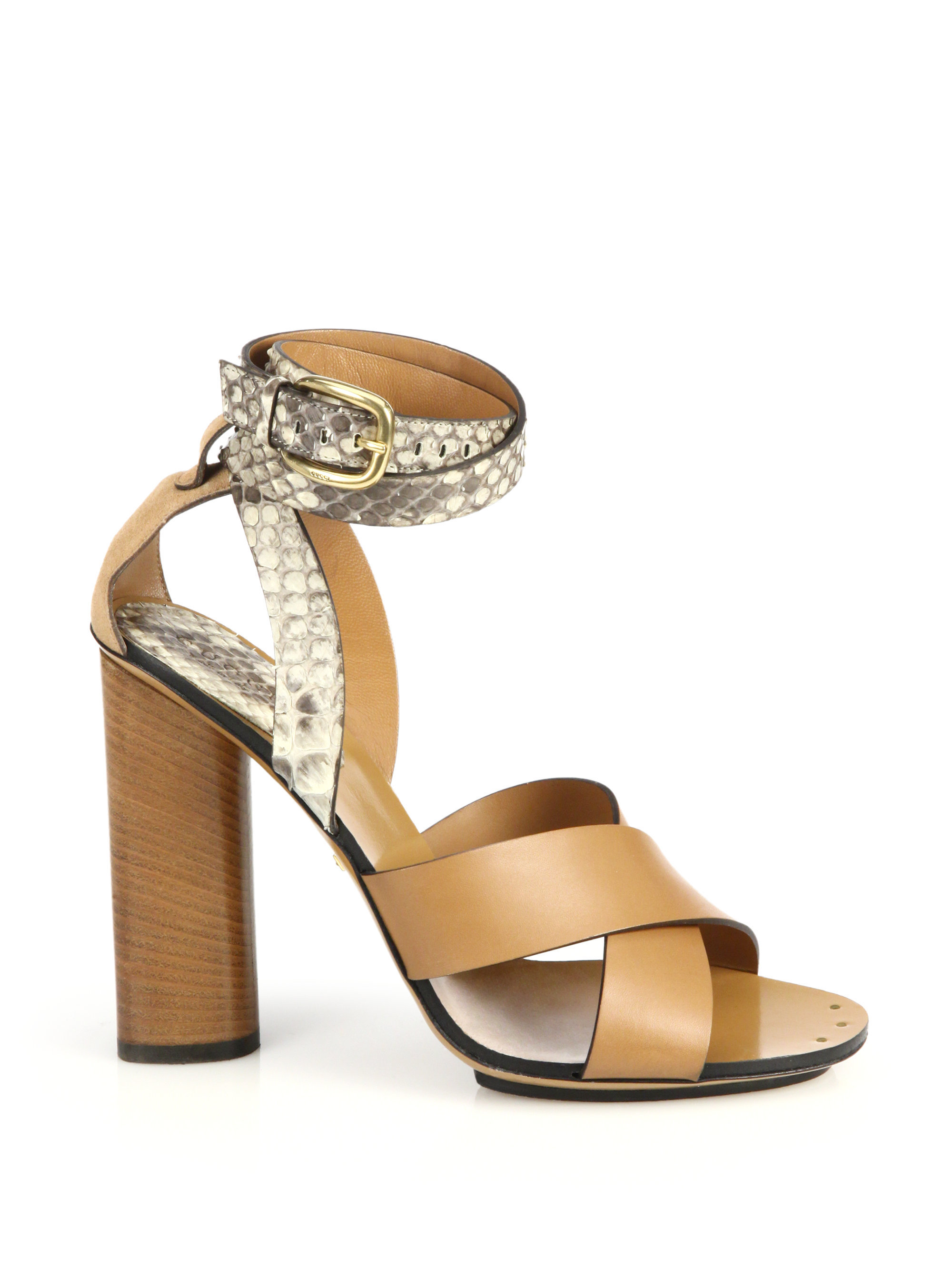 ff0f6af56dd Lyst - Gucci Python   Leather Stacked-heel Sandals in Brown