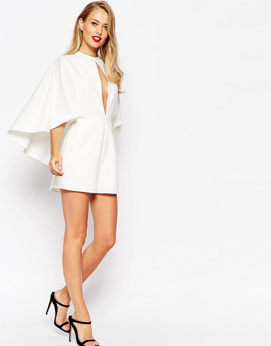 58d27f5f3b Lyst - ASOS Occasion Playsuit With Cape And Keyhole in White