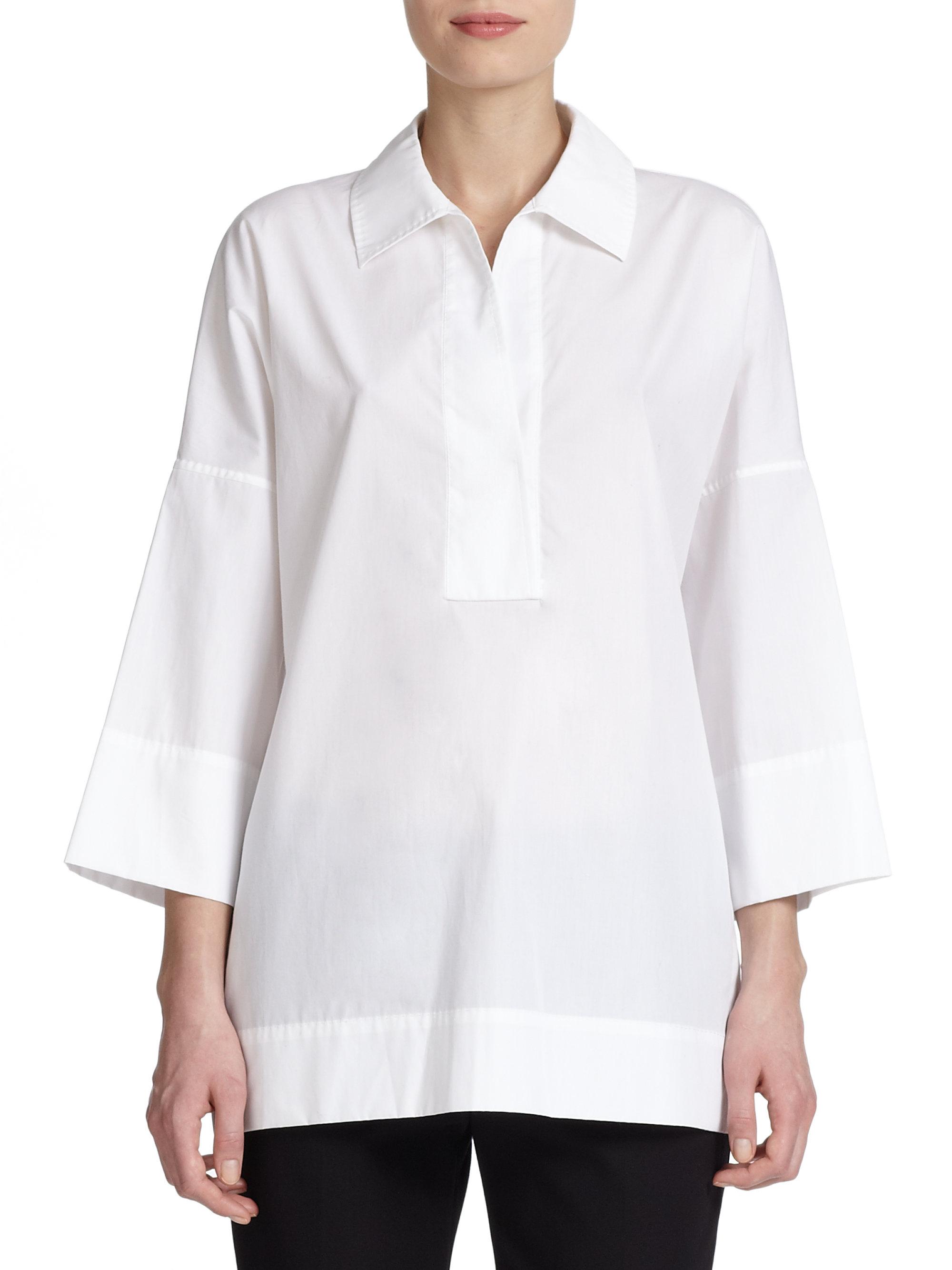 Escada Cotton Tunic Blouse In White Lyst