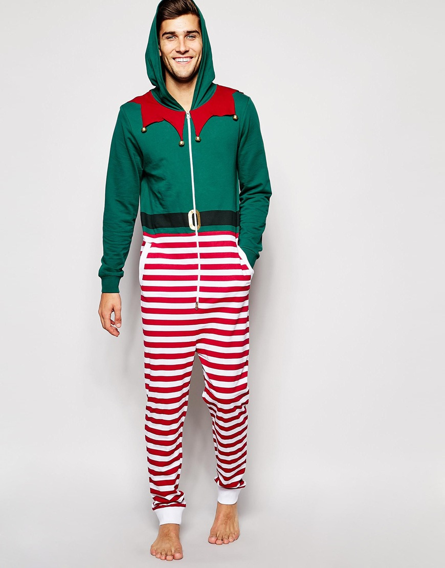 Asos Loungewear Christmas Elf Onesie With Bells in Green for Men ...