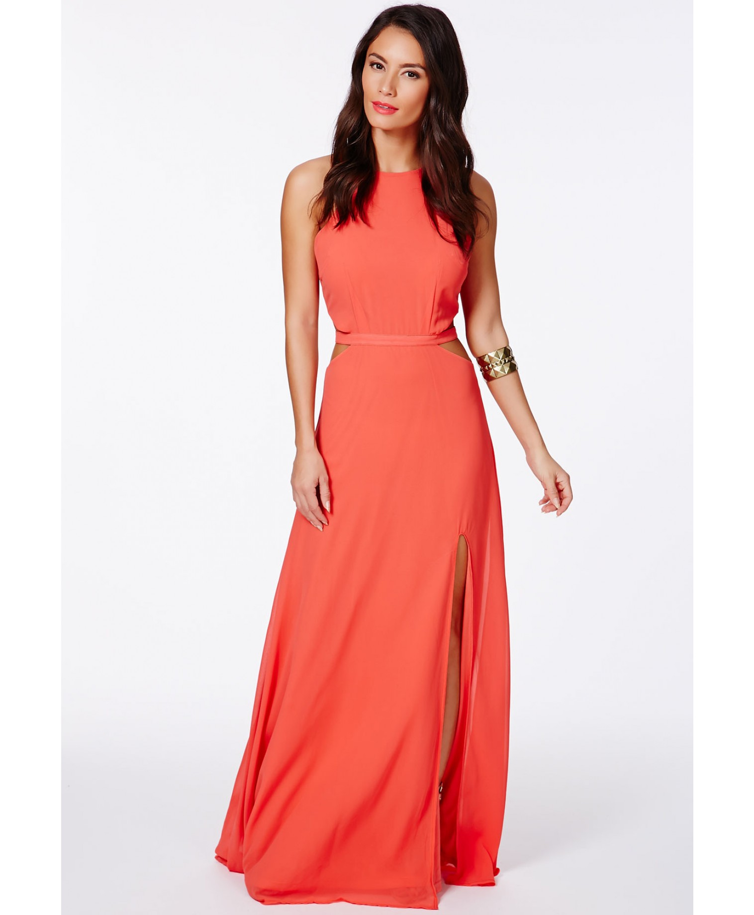 db303e628623 Missguided Anthea Cut Out Split Maxi Dress In Coral in Orange - Lyst