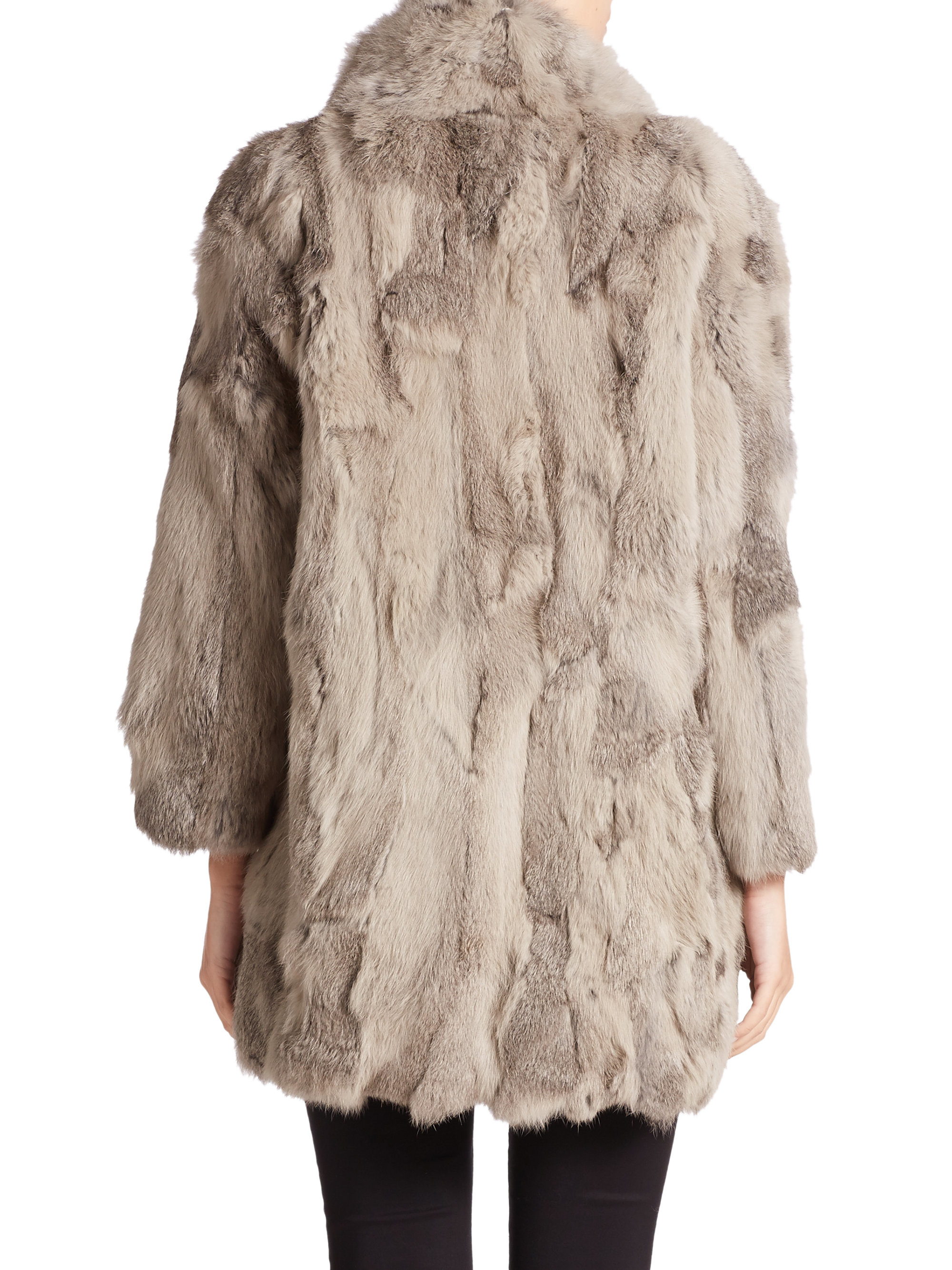 Adrienne Landau Textured Rabbit Fur Coat In Gray Lyst