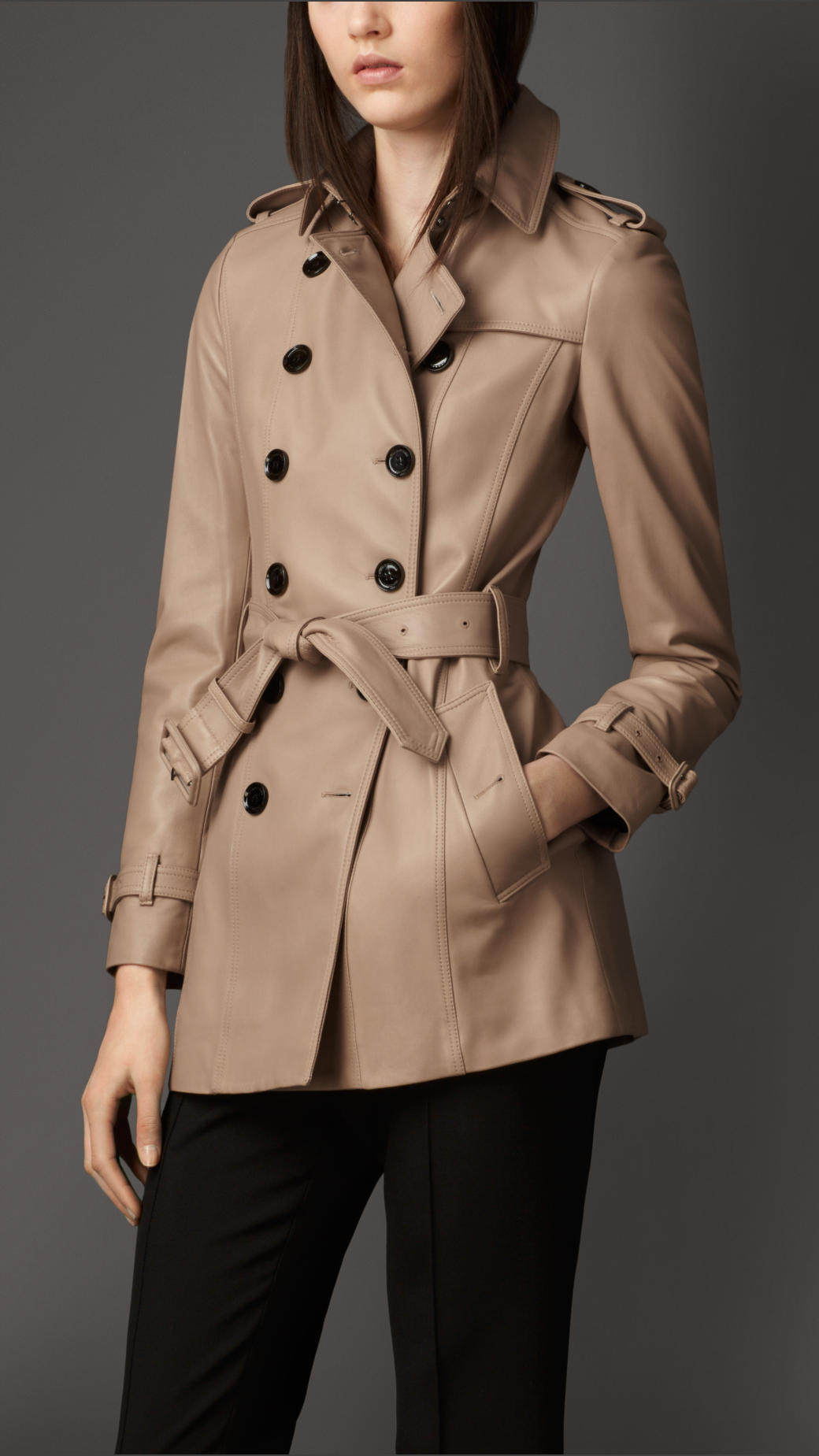 Burberry Short Lambskin Trench Coat In Natural