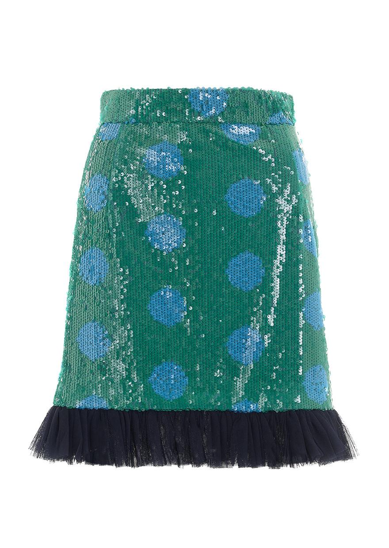 house of sequin skirt blue spot in green lyst