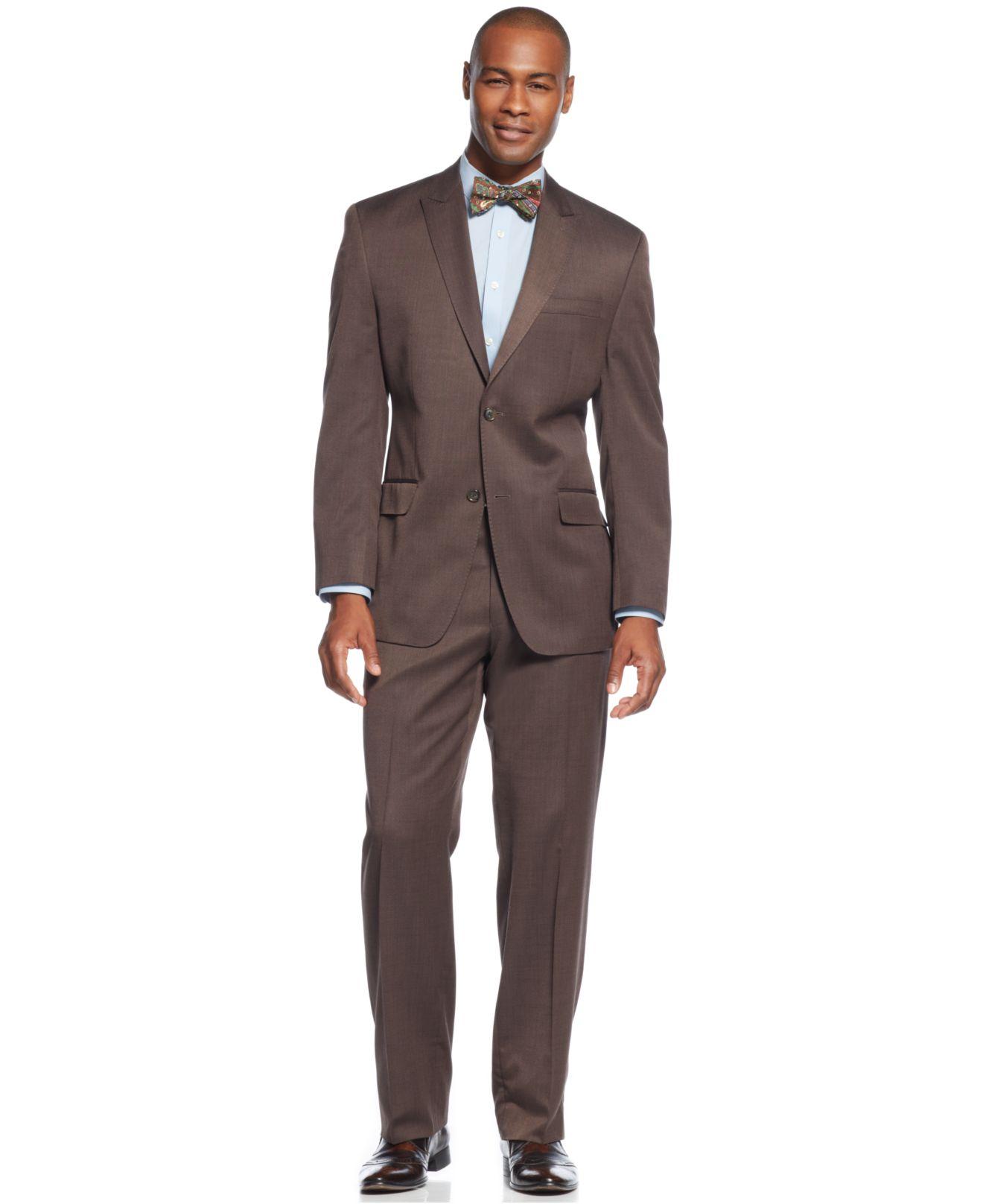 Sean john Peak Lapel Brown Sharkskin Suit in Brown for Men | Lyst